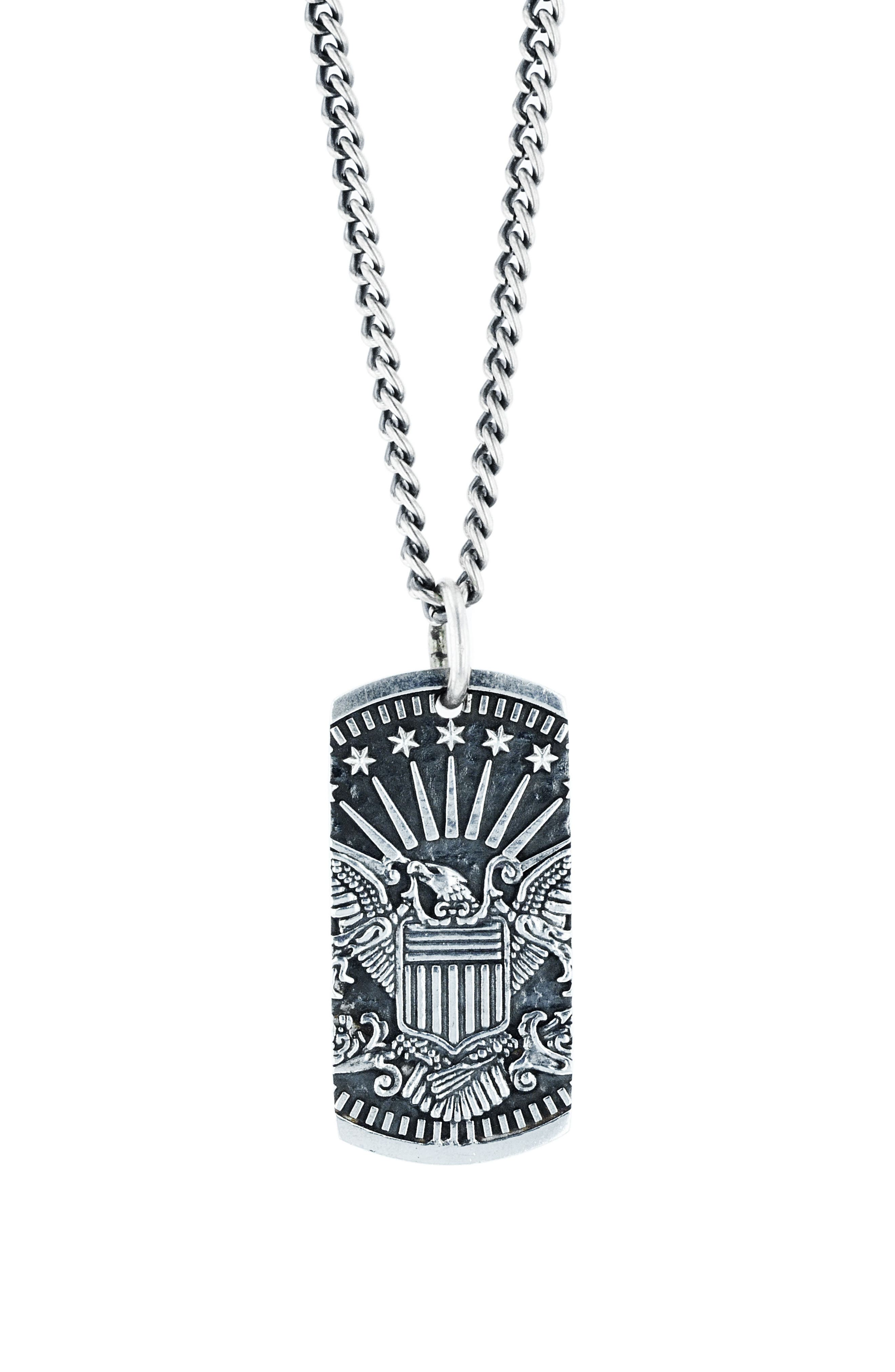 American Voices Eagle Dog Tag Necklace,                             Main thumbnail 1, color,                             040