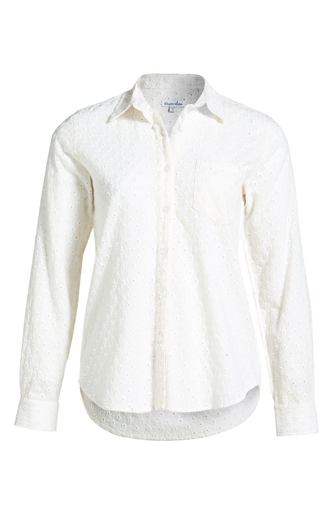 STEVEN ALAN Reverse Seam Shirt, Main, color, 100