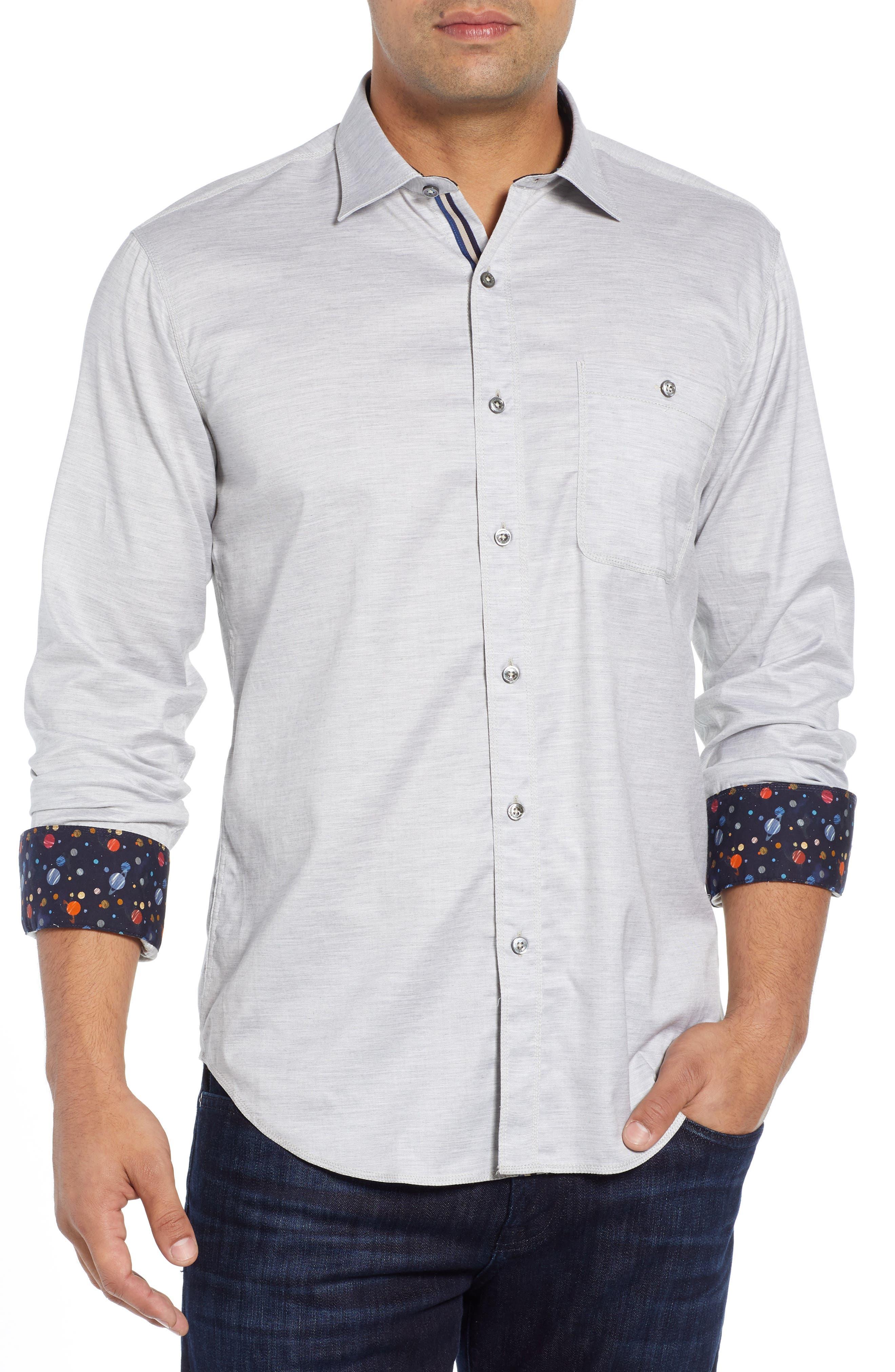 Shaped Fit Sport Shirt,                         Main,                         color, SAND