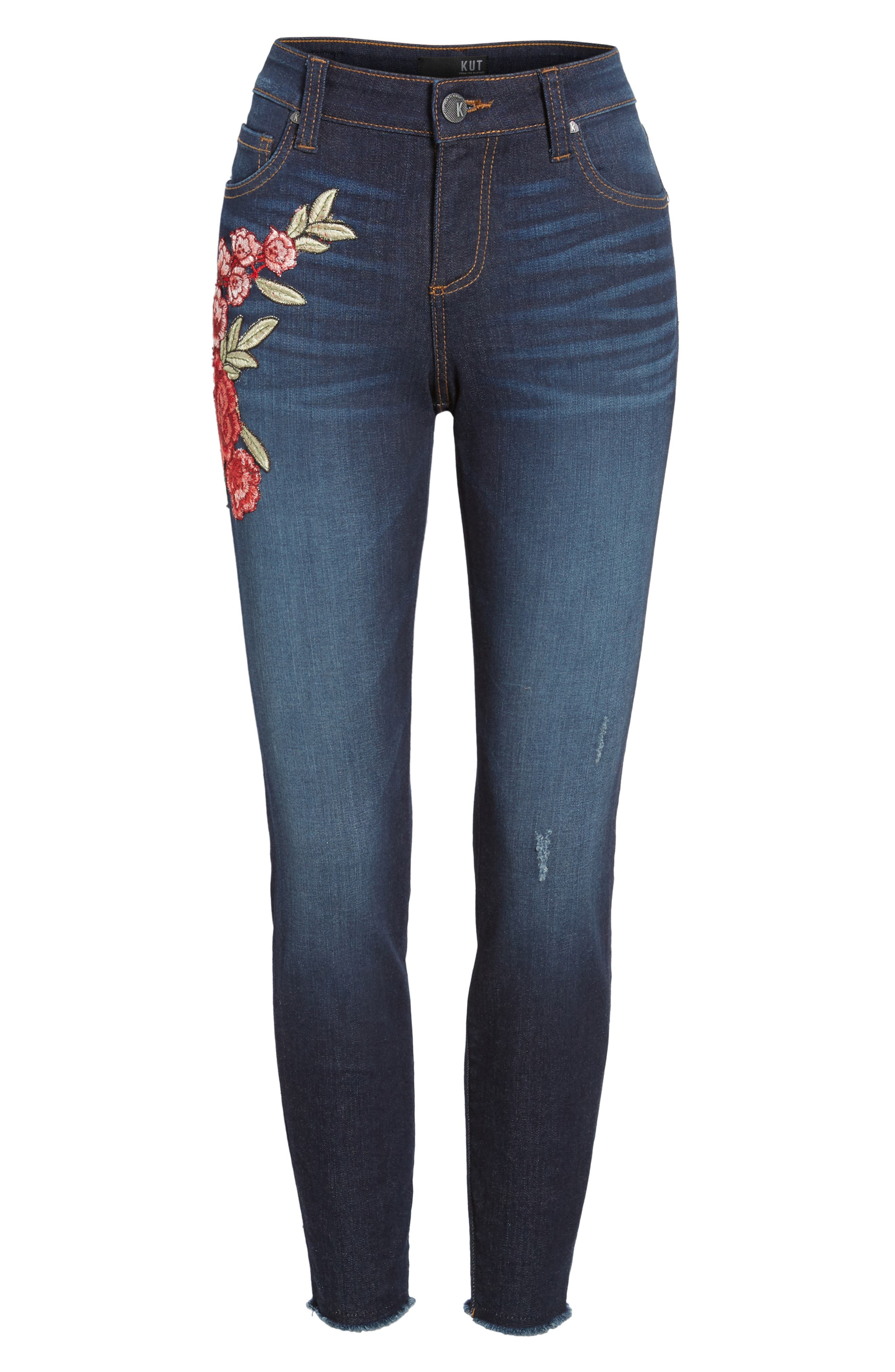Connie Embroidered Skinny Ankle Jeans,                             Alternate thumbnail 6, color,