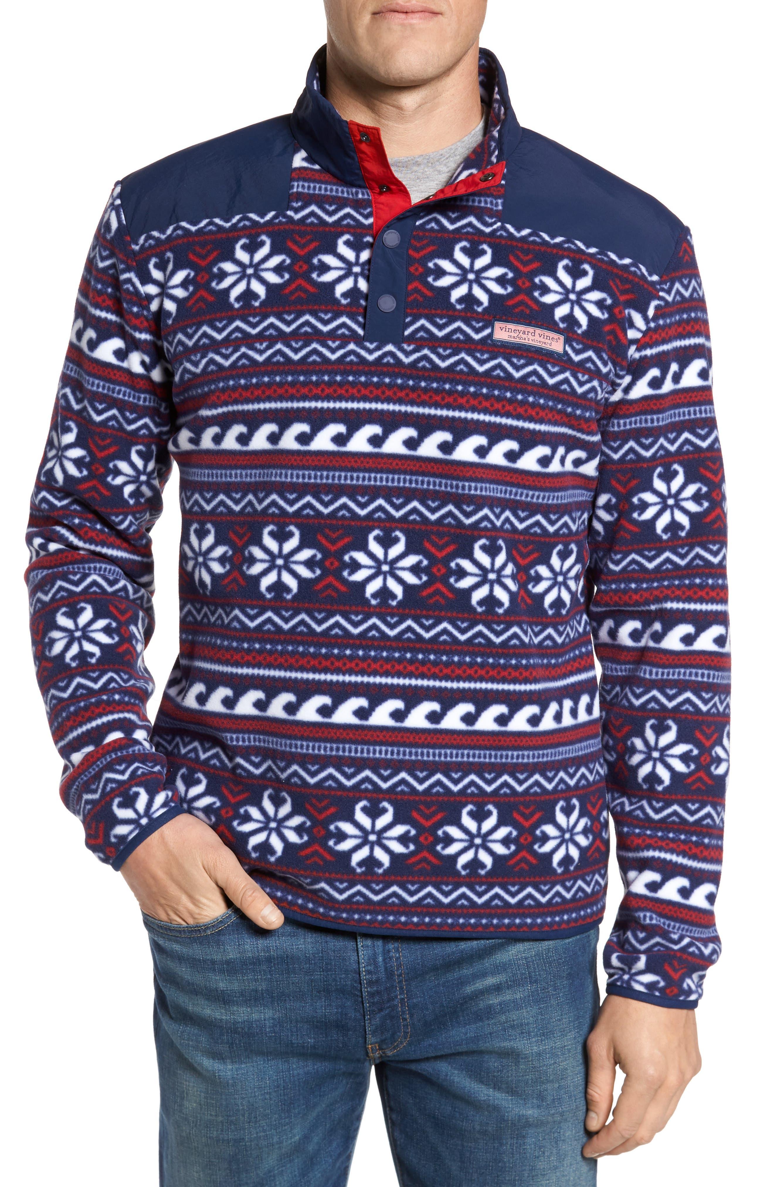 Fair Isle Quarter Snap Fleece Pullover,                             Main thumbnail 1, color,