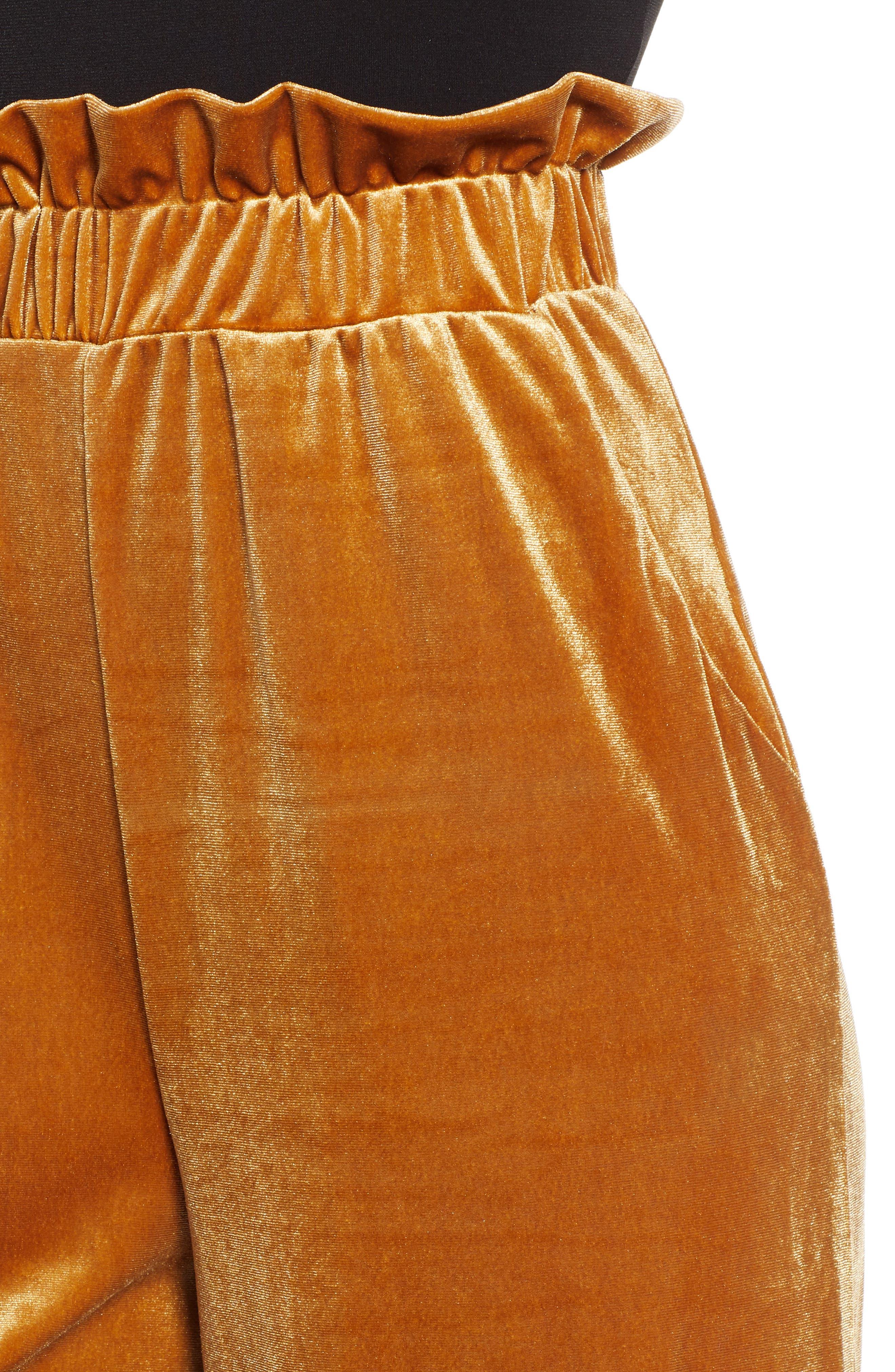 Velvet Wide Leg Pants,                             Alternate thumbnail 4, color,                             GOLD