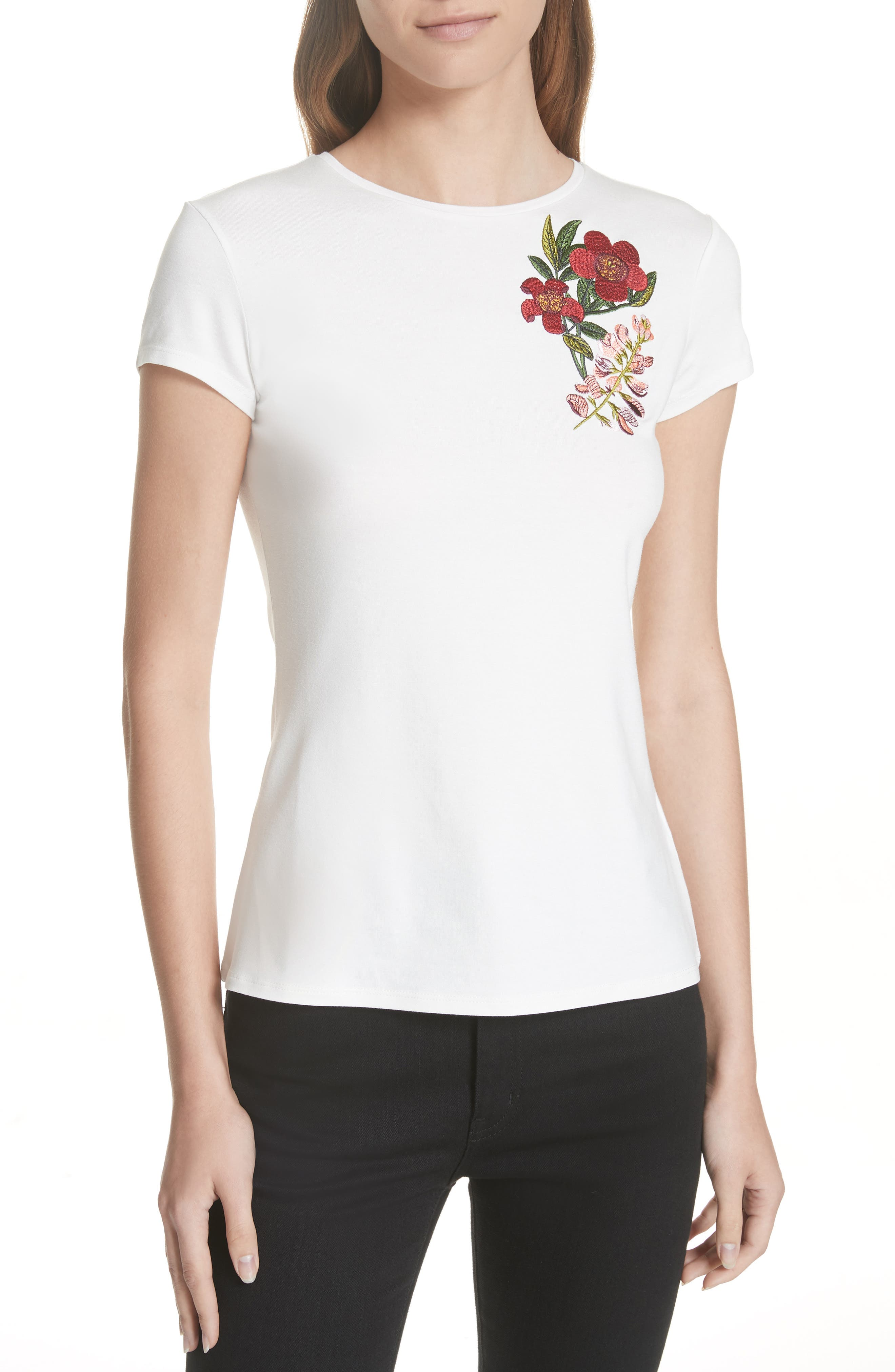 Laylar Kirstenbosch Embroidered Tee, Main, color, 905
