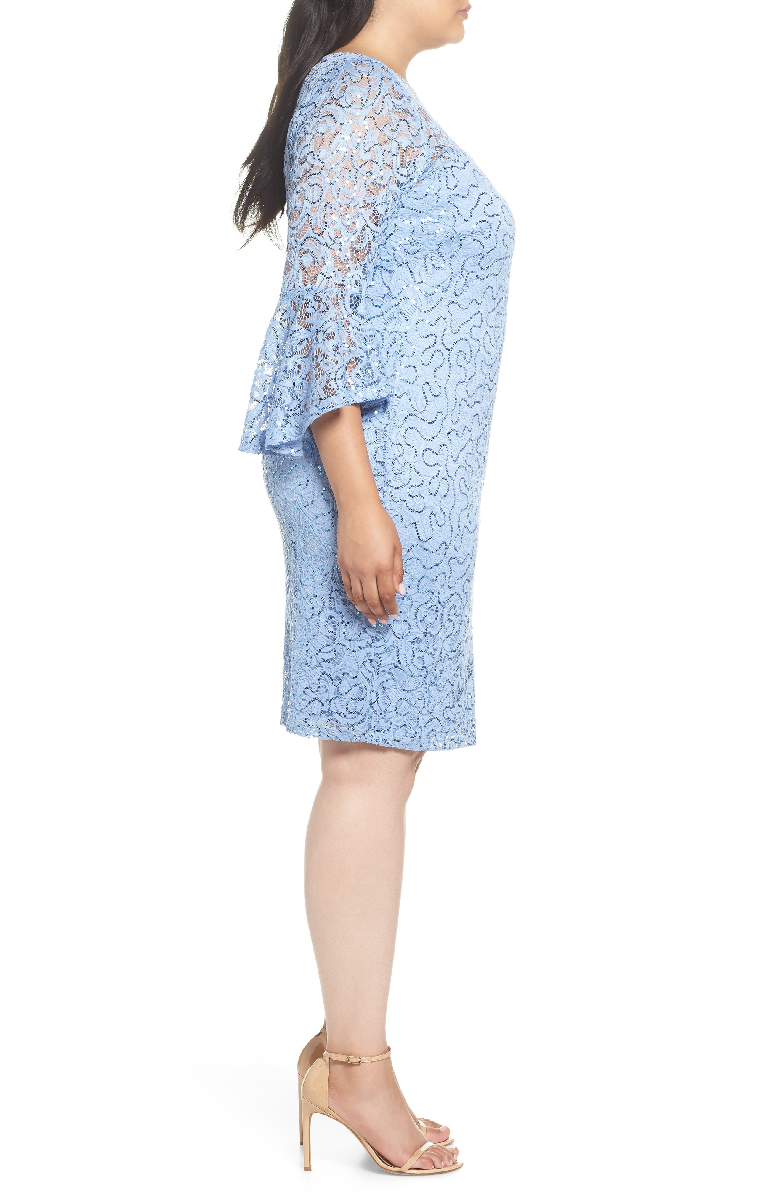 Sequin Lace Bell Sleeve Dress,                             Alternate thumbnail 3, color,                             BLUE