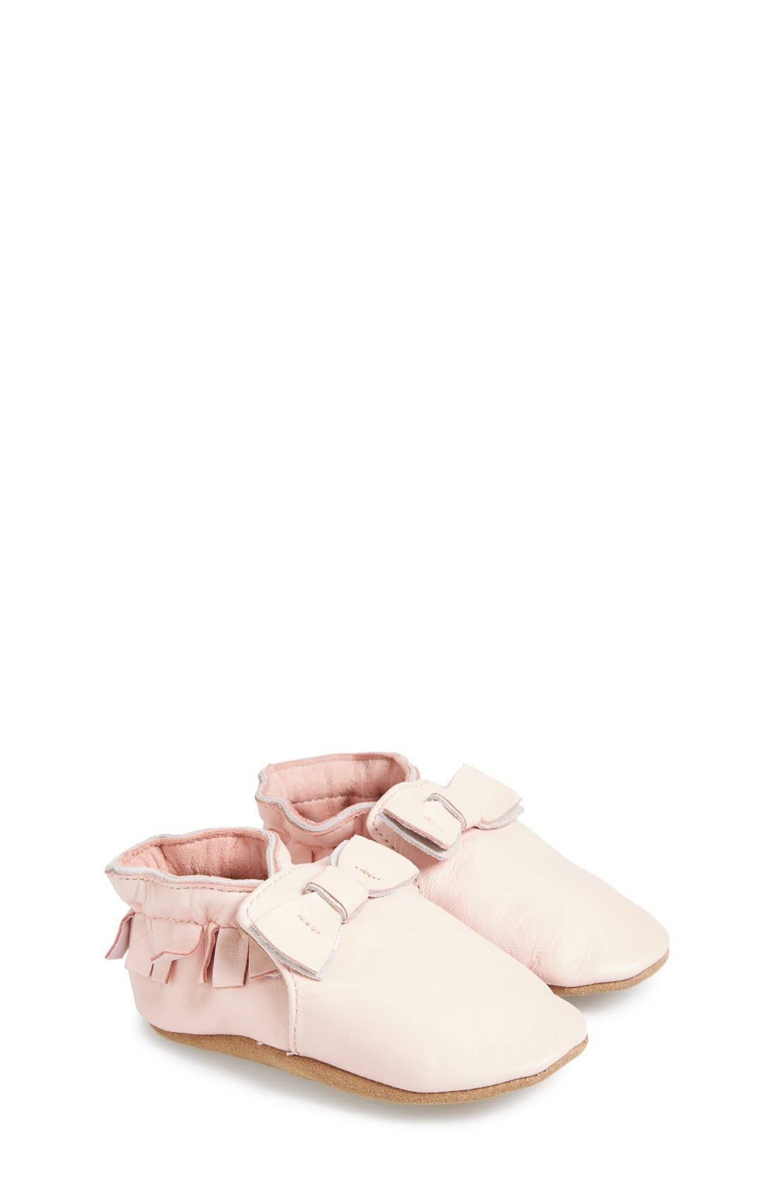 'Maggie Moccasin' Crib Shoe,                             Main thumbnail 1, color,                             PASTEL PINK