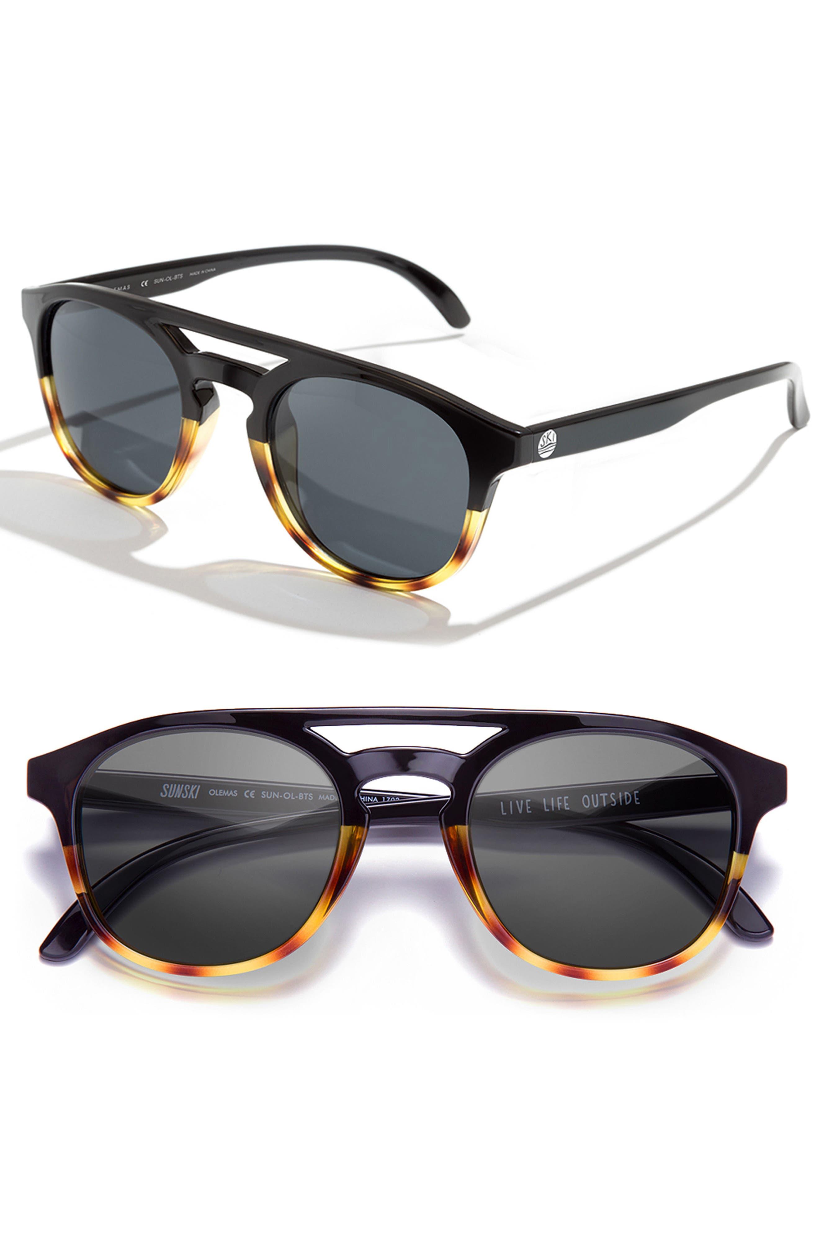 Olema 53mm Polarized Sunglasses,                         Main,                         color, BLACK TORTOISE SLATE