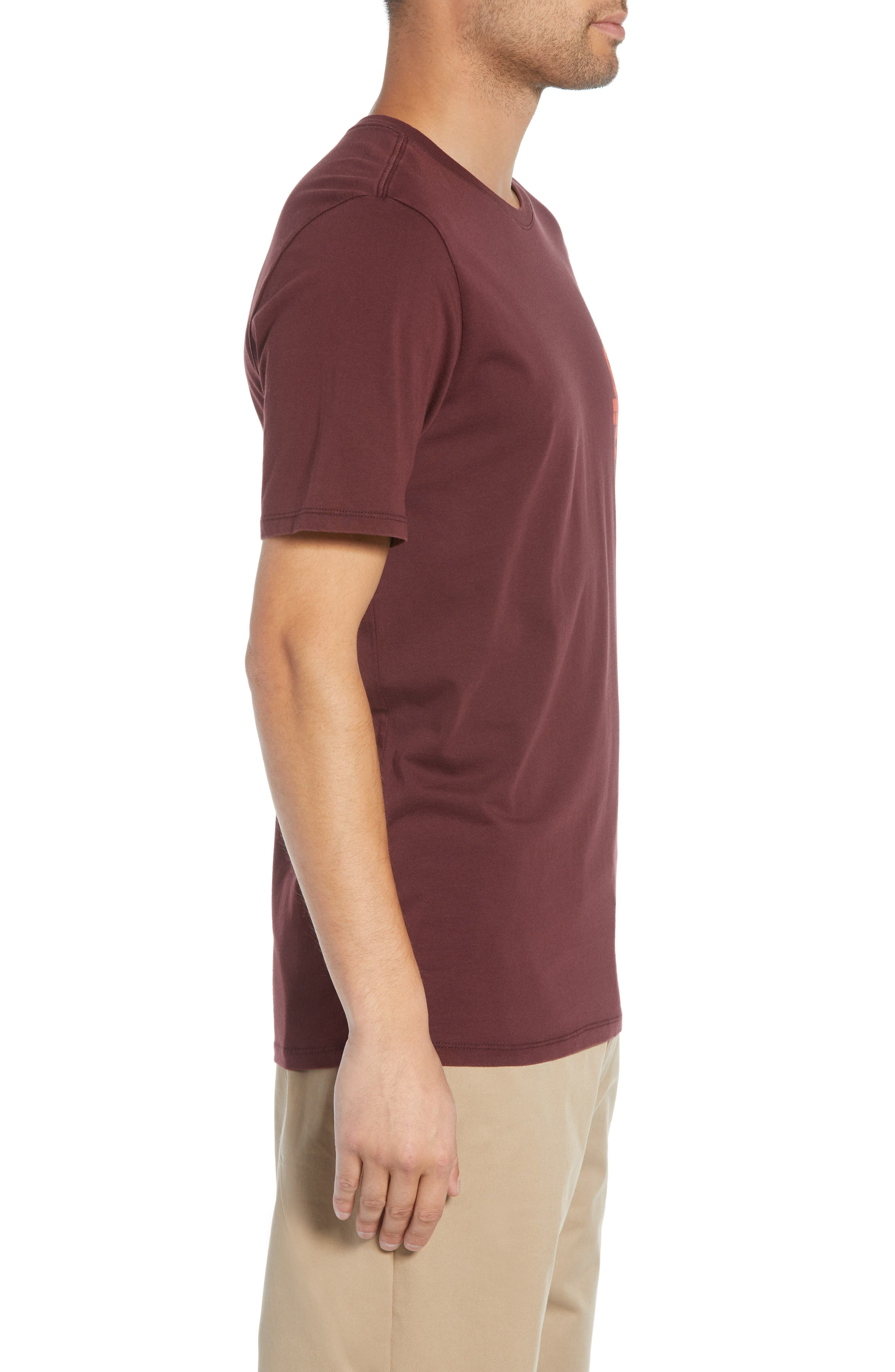 Crewneck T-Shirt,                             Alternate thumbnail 3, color,                             BURGUNDY CRUSH/ HABANERO RED