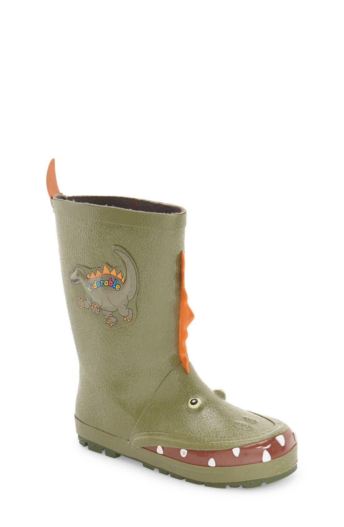 'Dinosaur' Waterproof Rain Boot,                             Main thumbnail 1, color,                             300