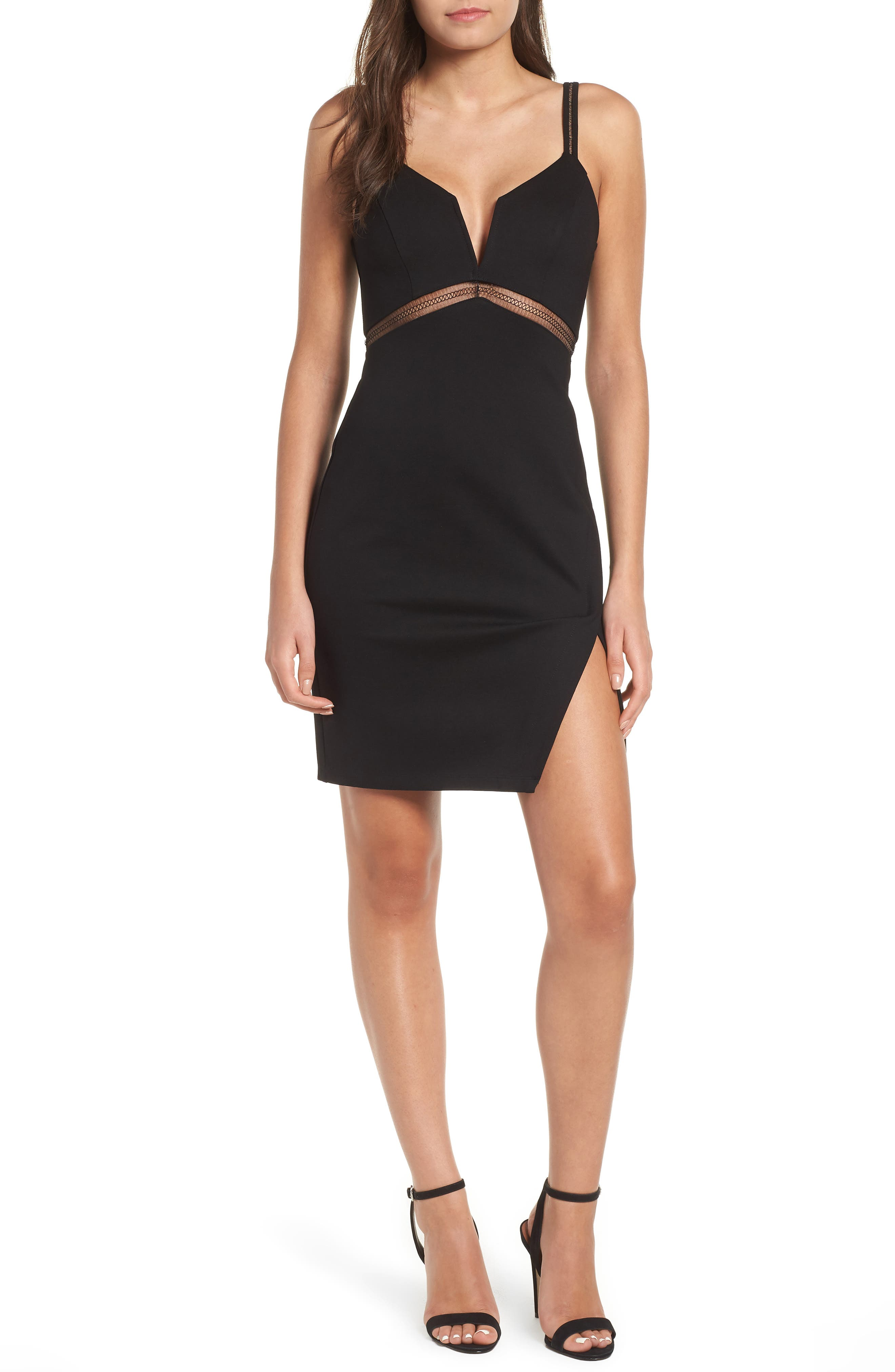Plunge Neck Sheath Dress,                             Main thumbnail 1, color,                             001