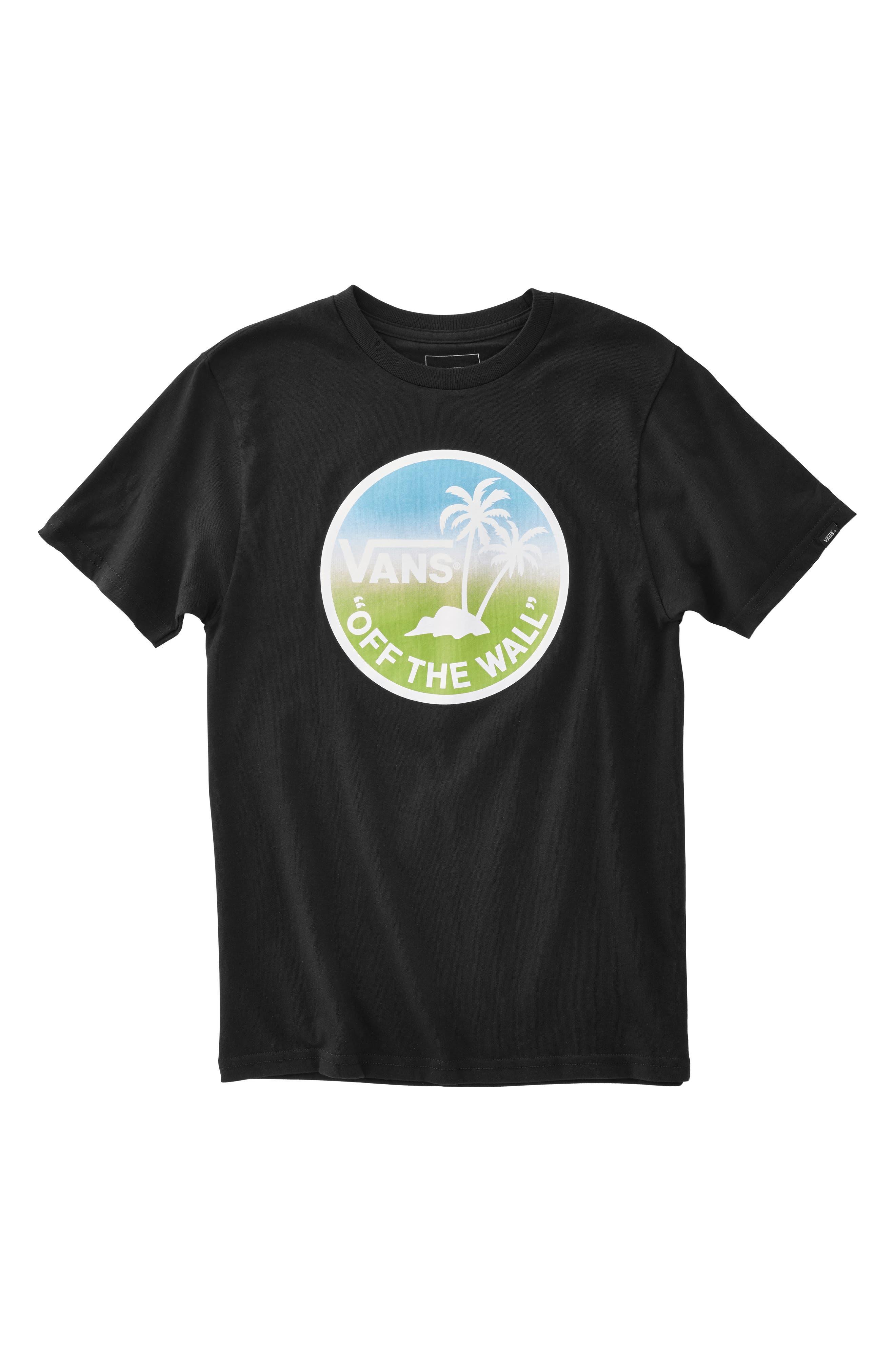 VANS,                             Dual Palm Logo T-Shirt,                             Main thumbnail 1, color,                             BLACK