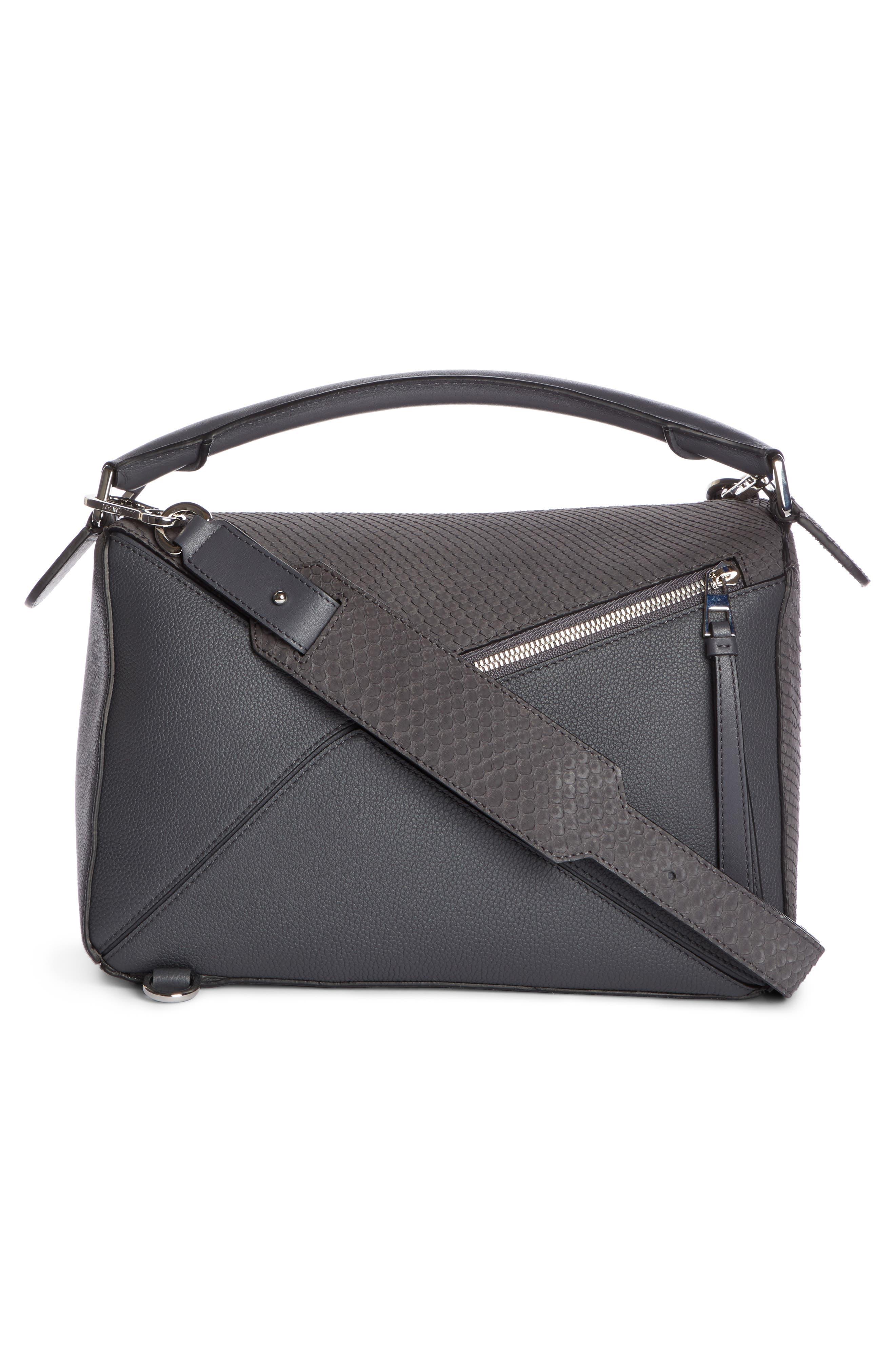 Medium Puzzle Leather Shoulder Bag,                             Alternate thumbnail 2, color,                             ANTHRACITE