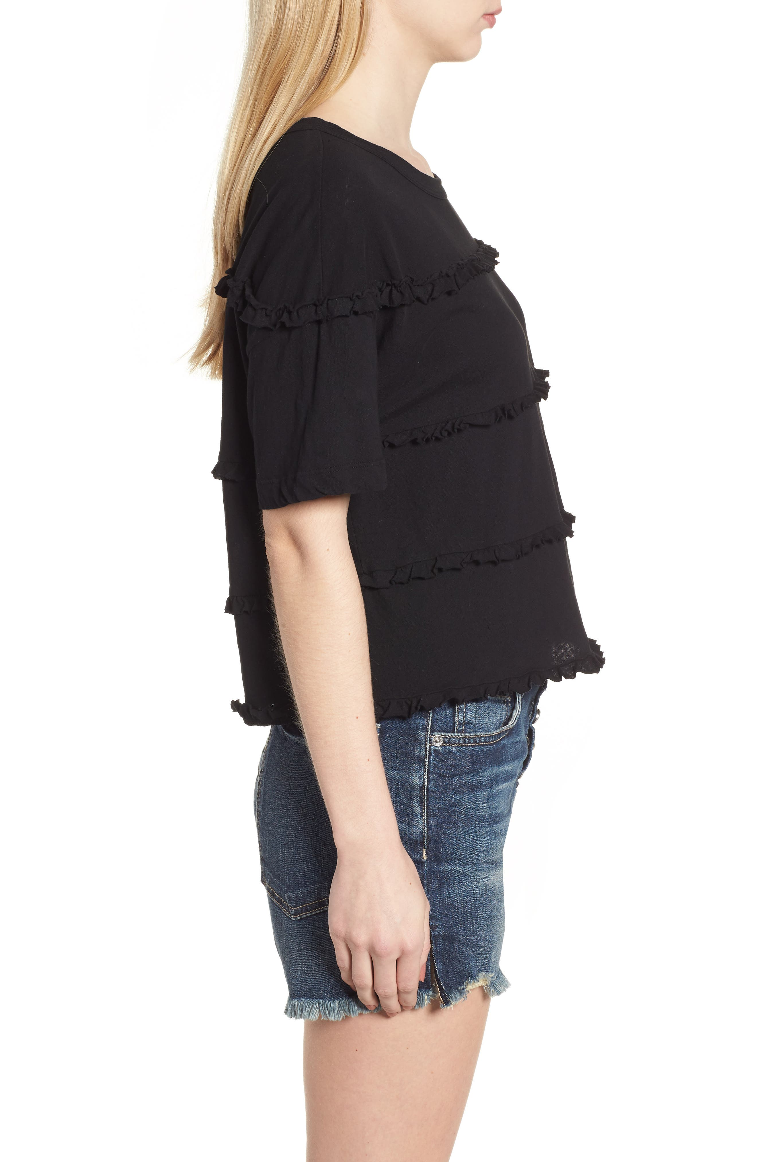 The Claudia Ruffle Tee,                             Alternate thumbnail 3, color,                             001