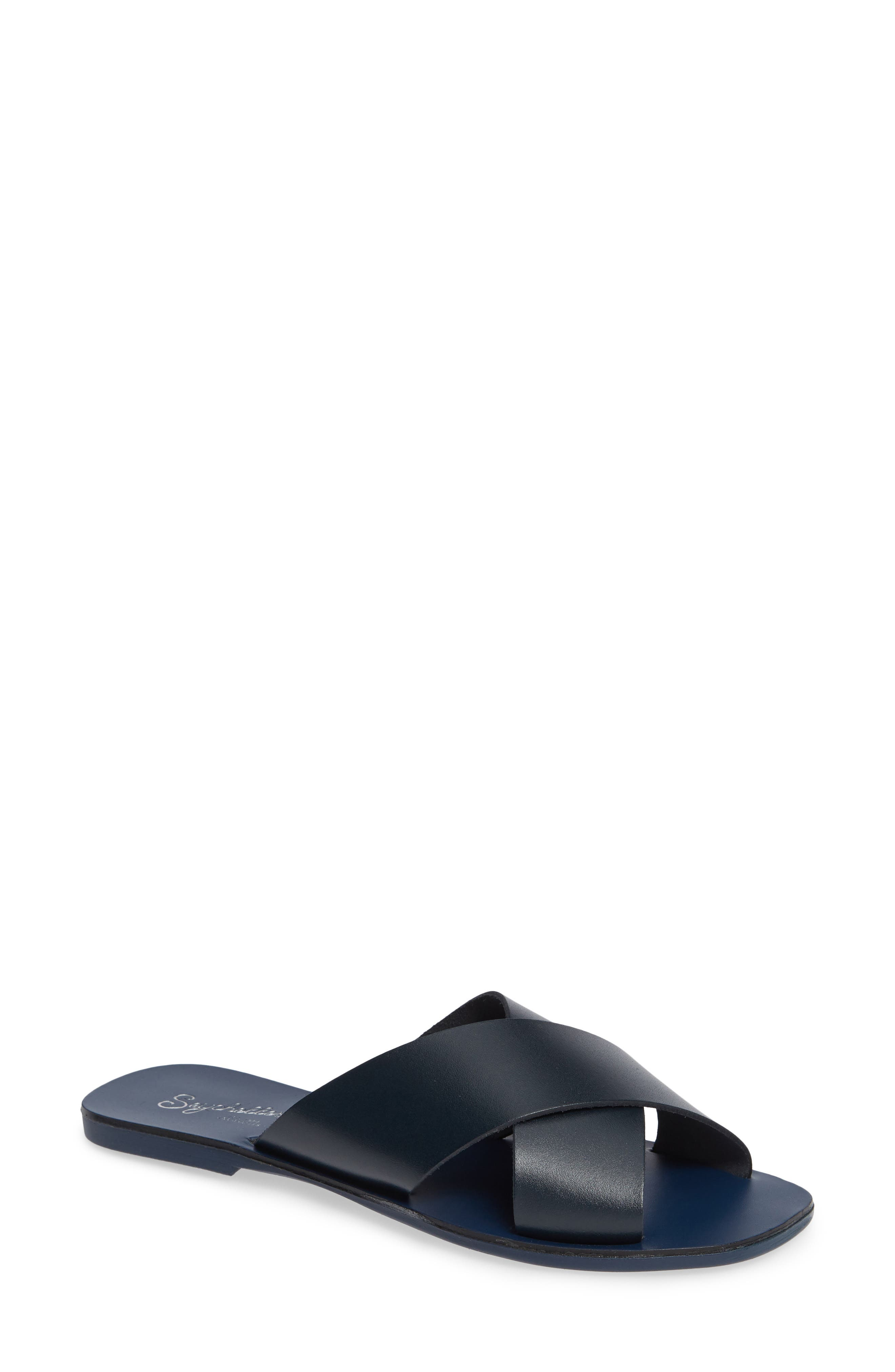 Total Relaxation Slide Sandal,                             Main thumbnail 1, color,                             NAVY LEATHER