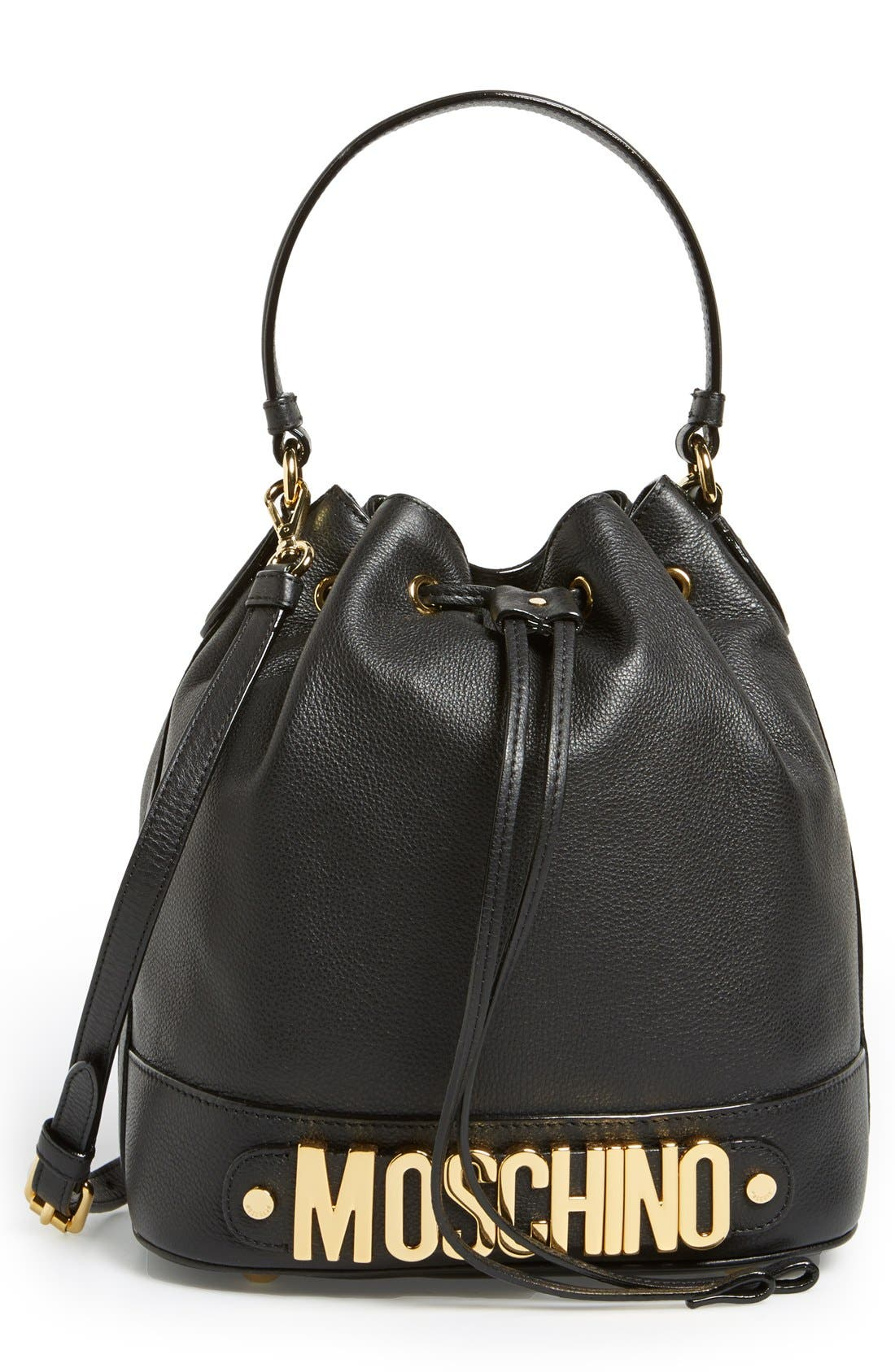 'Letters' Leather Bucket Bag, Main, color, 001