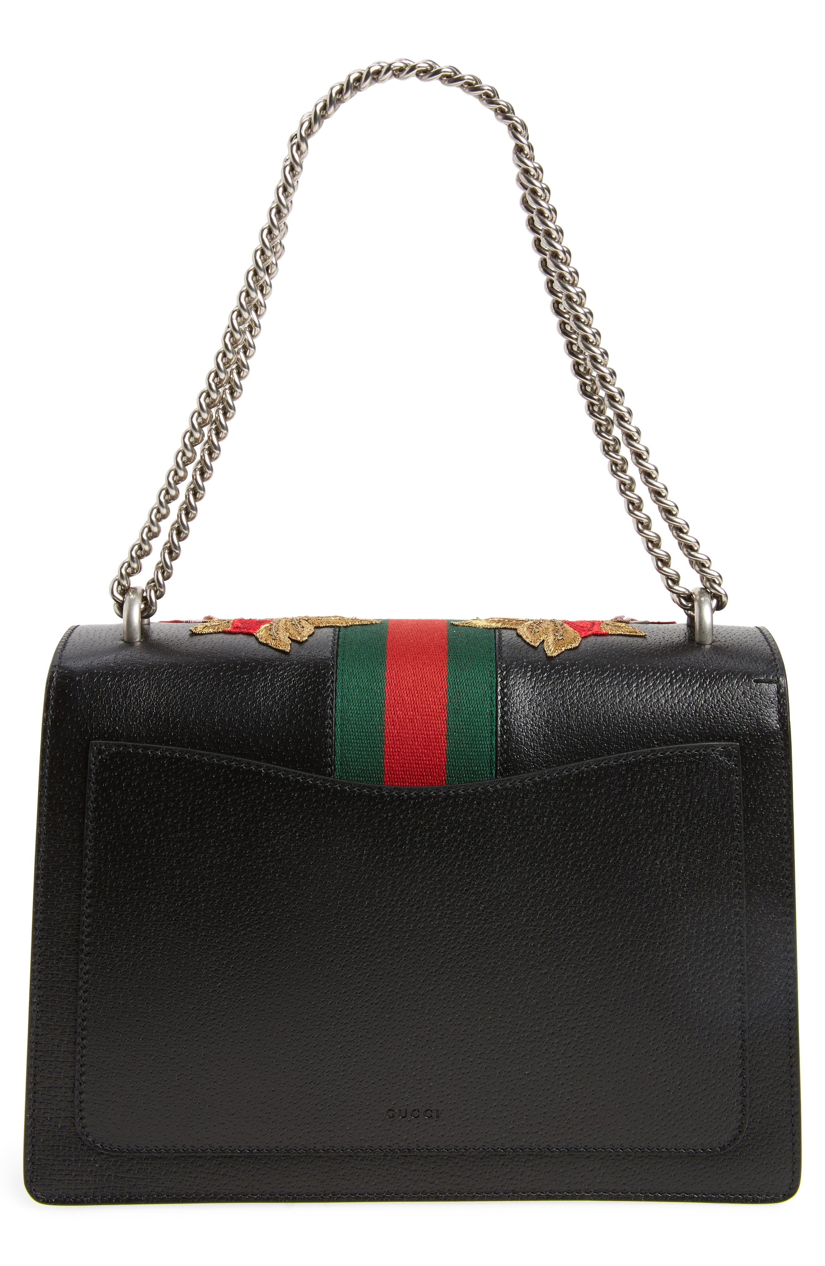 Medium Dionysus Embroidered Roses Leather Shoulder Bag,                             Alternate thumbnail 3, color,                             NERO/MULTI