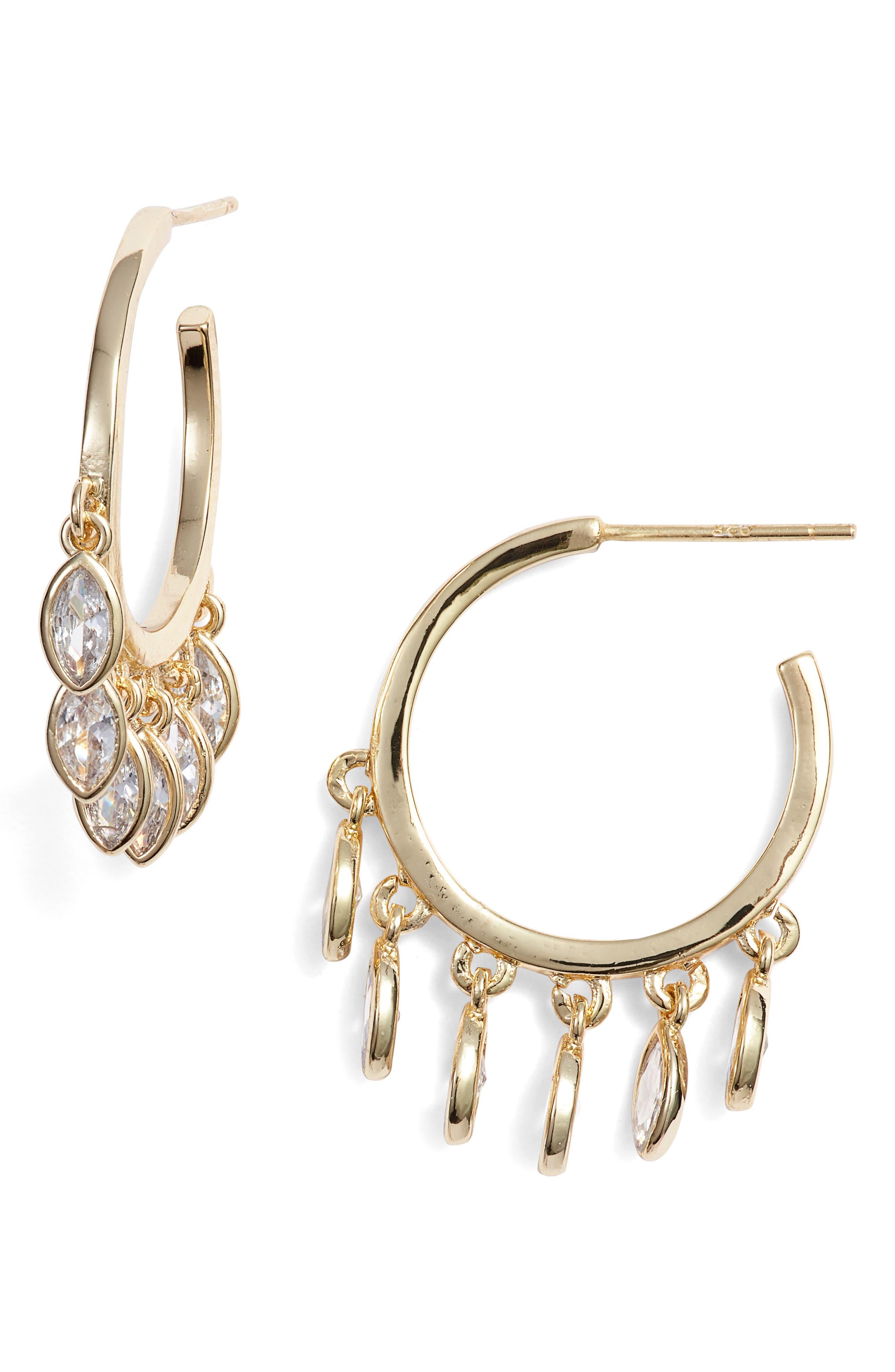 MELINDA MARIA Marquise Hoop Earrings in Clear/ Gold