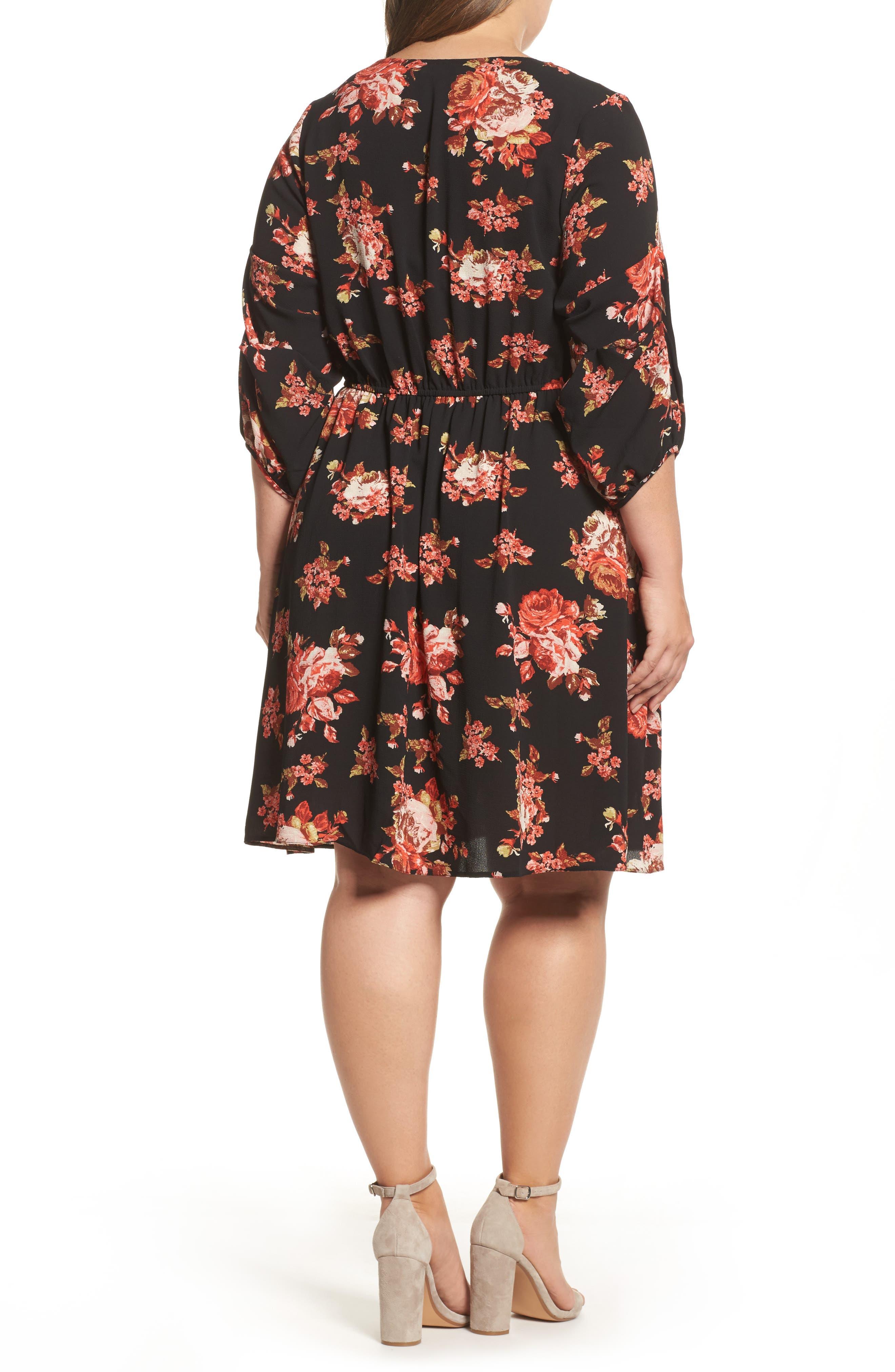V-Neck Floral Print Dress,                             Alternate thumbnail 2, color,                             600