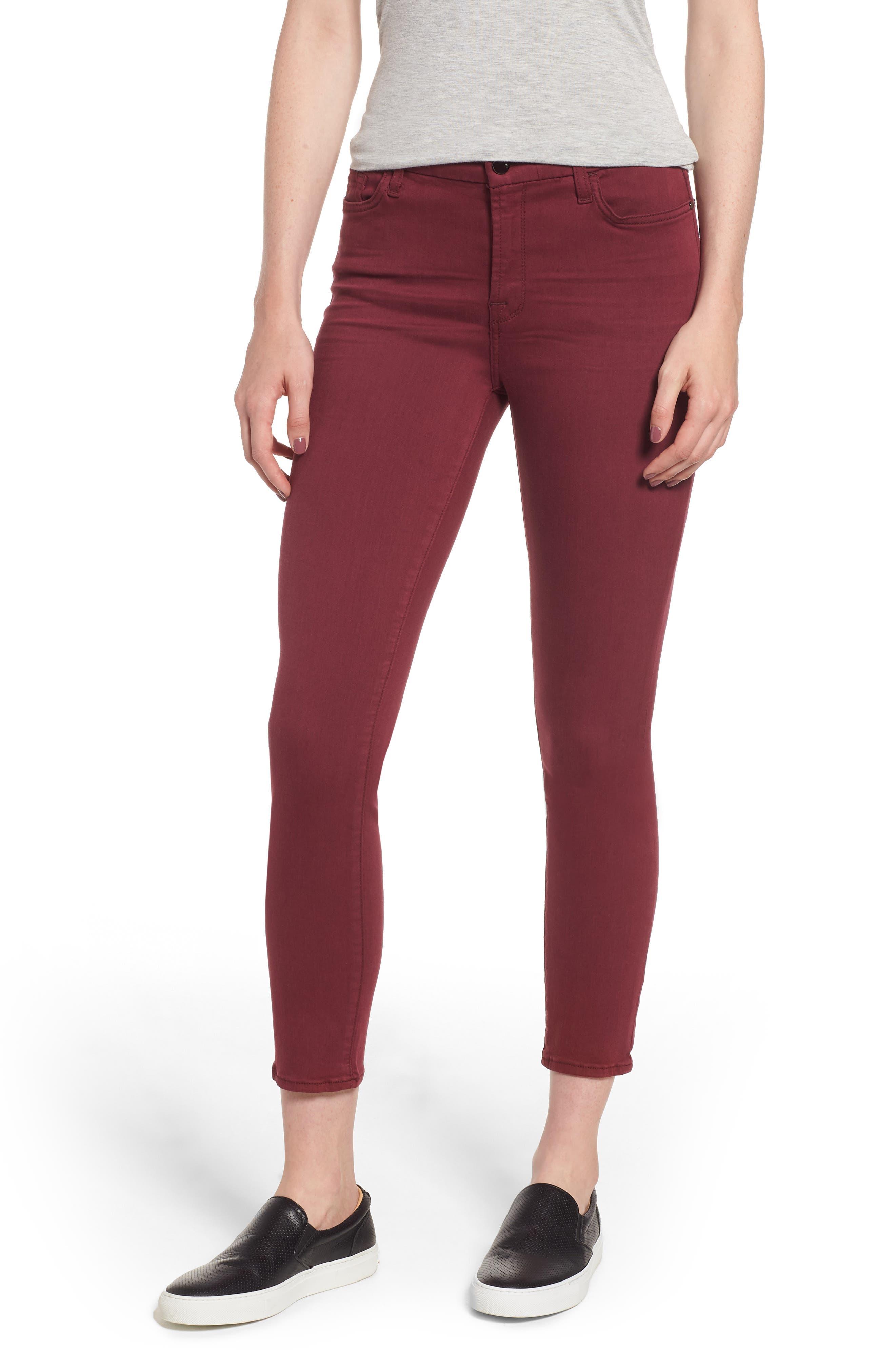 Mid-Rise Skinny Twill Pants W/ Unraveled Hem in Blackberry