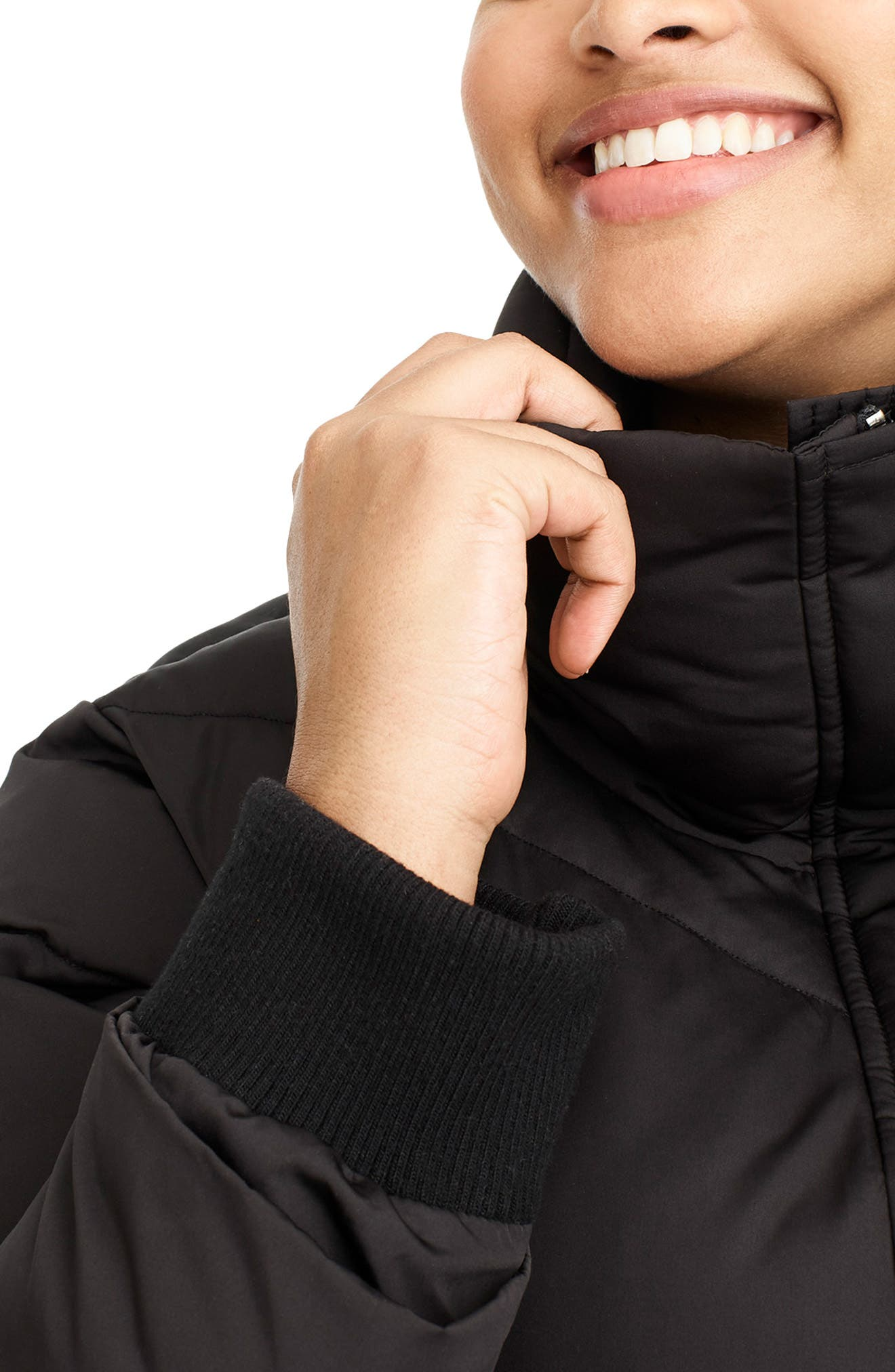 for J.Crew Chevron Long Puffer Coat,                             Alternate thumbnail 4, color,                             BLACK