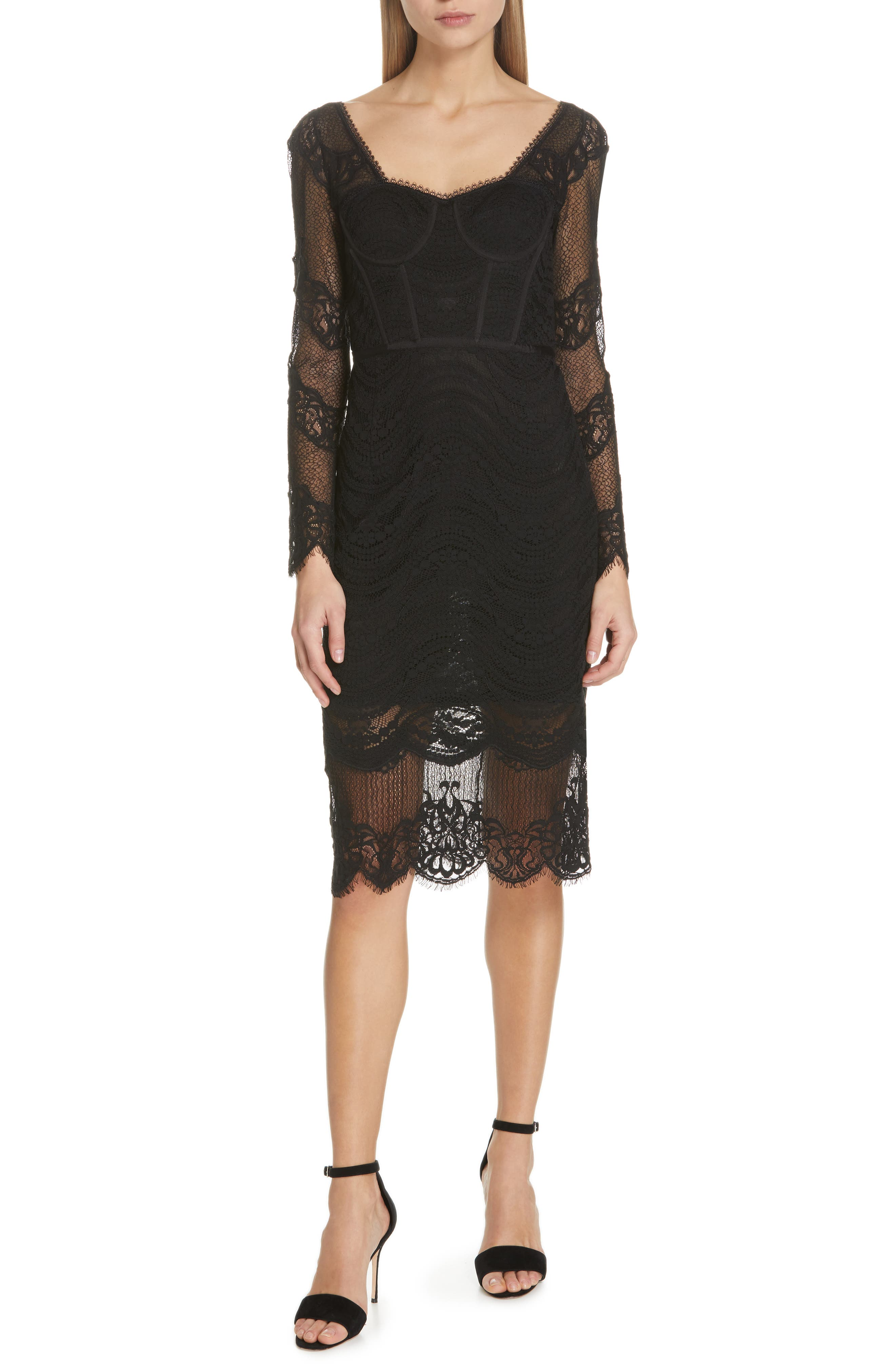 JONATHAN SIMKHAI,                             Lace Bustier Bodysuit Dress,                             Main thumbnail 1, color,                             BLACK
