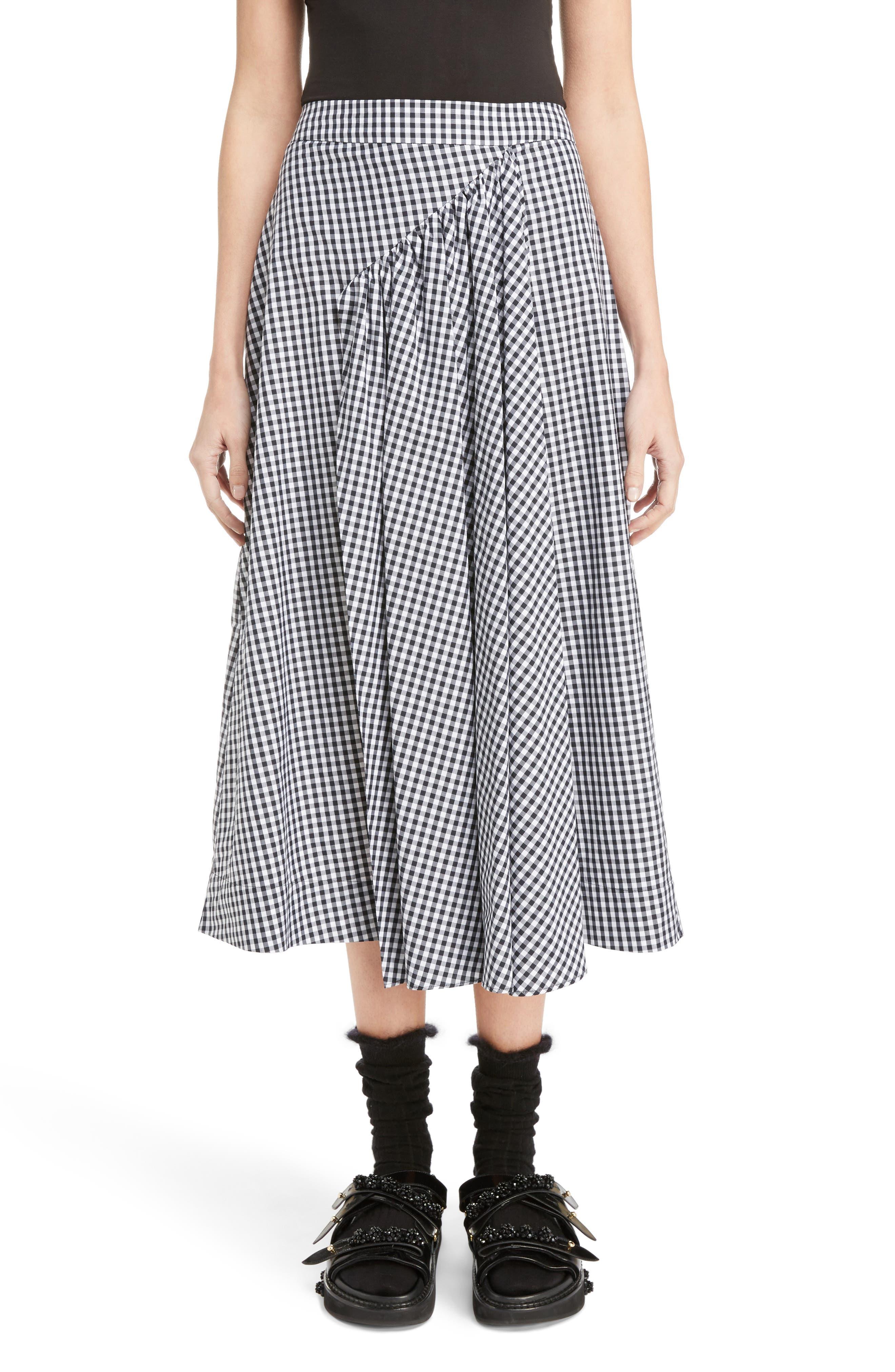 Three-Panel Gingham Midi Skirt,                             Main thumbnail 1, color,                             100