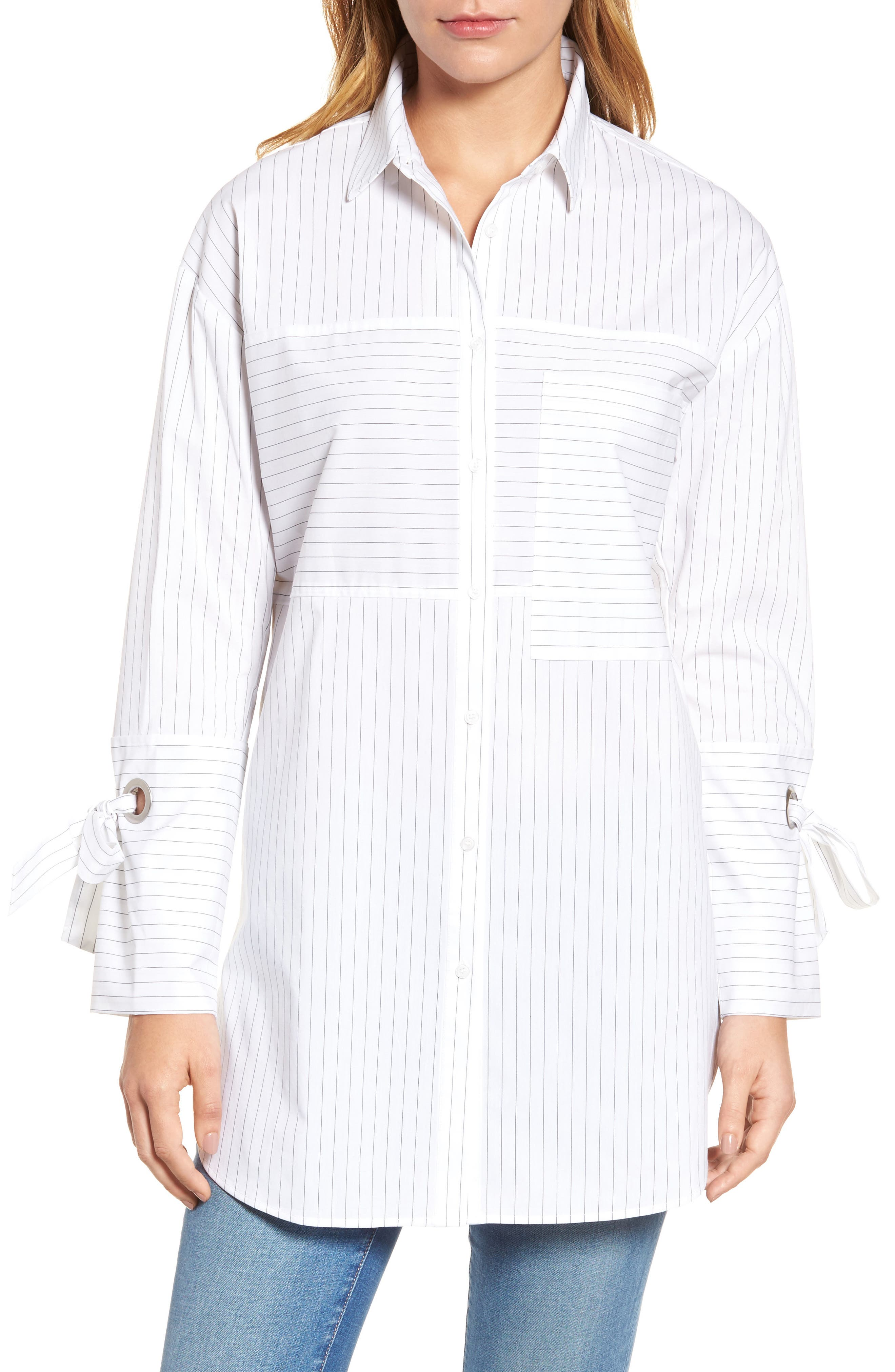 Pocket Detail Stripe Tunic Top,                         Main,                         color, 100