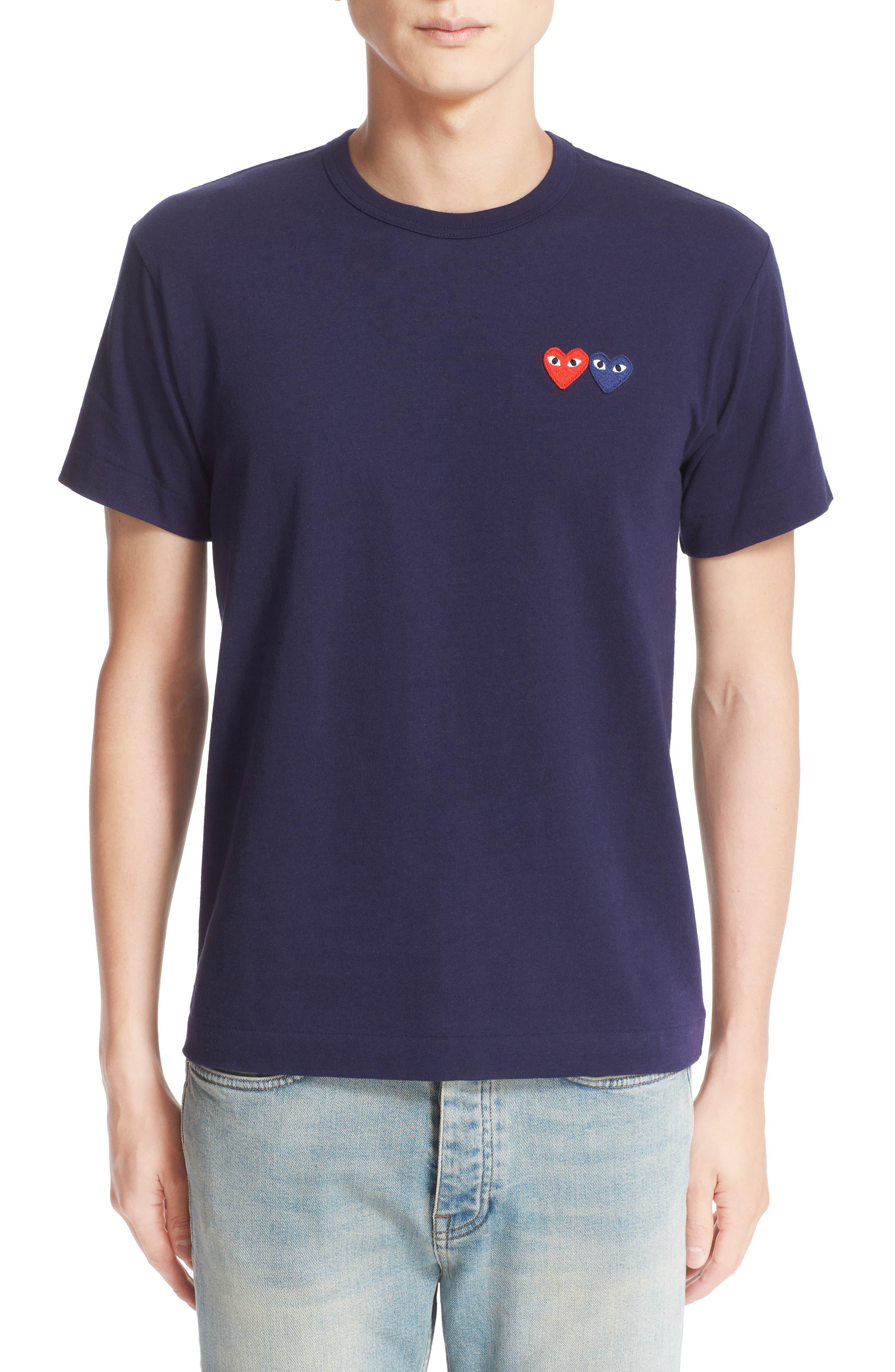 Twin Hearts Jersey T-Shirt,                         Main,                         color, NAVY