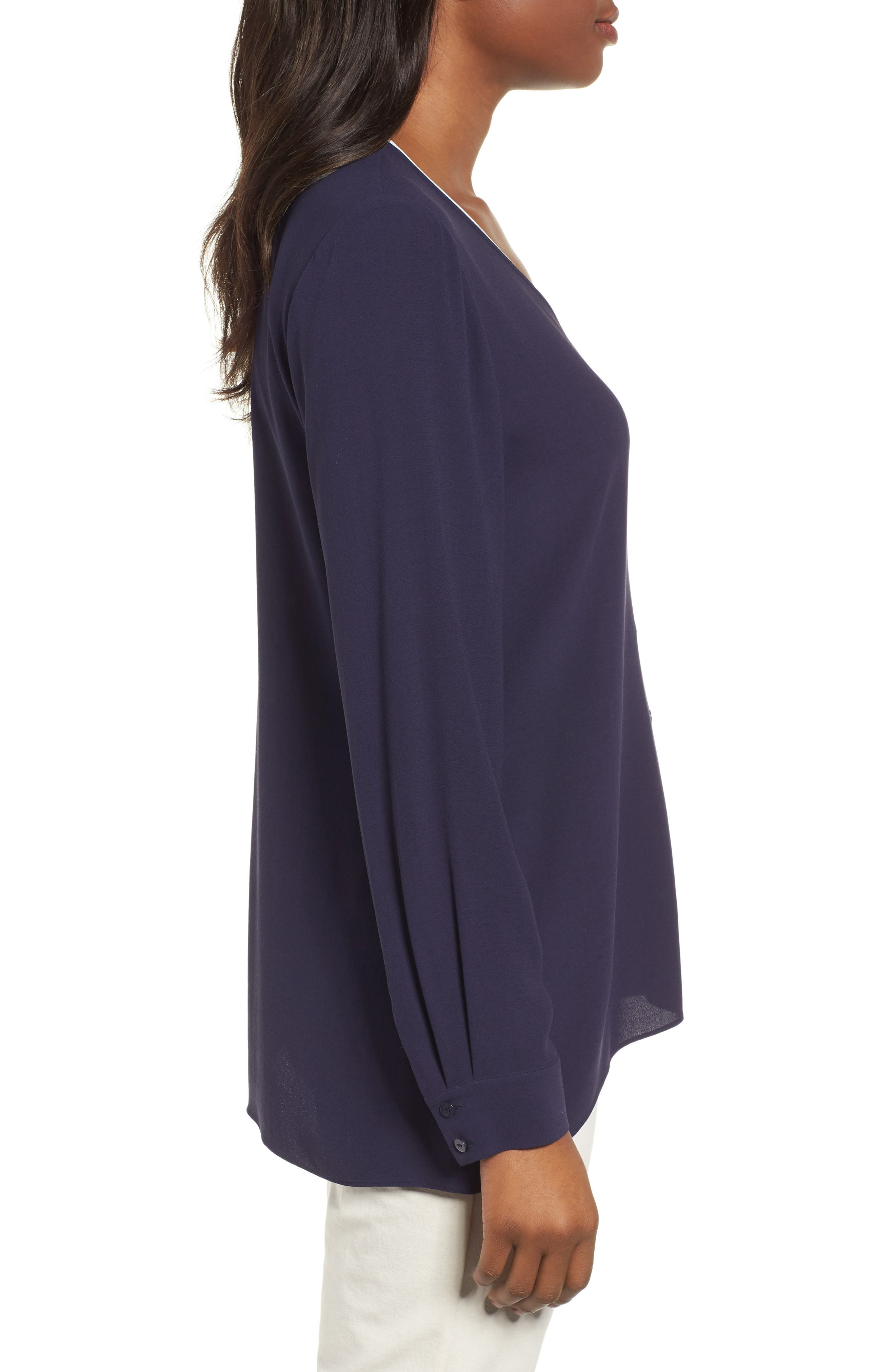 Piped Silk Blouse,                             Alternate thumbnail 9, color,