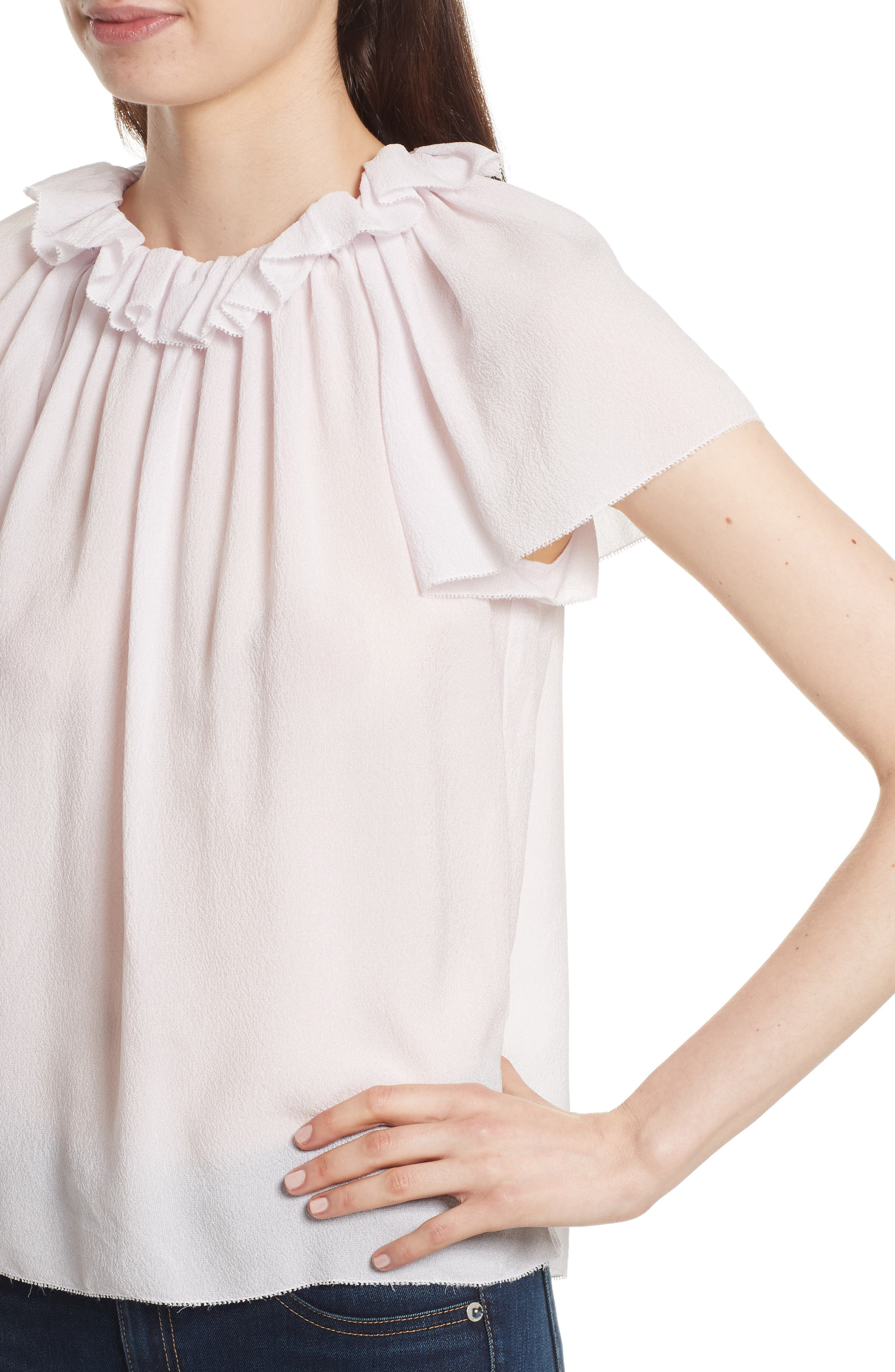 Ruffle Neck Silk Top,                             Alternate thumbnail 4, color,                             510