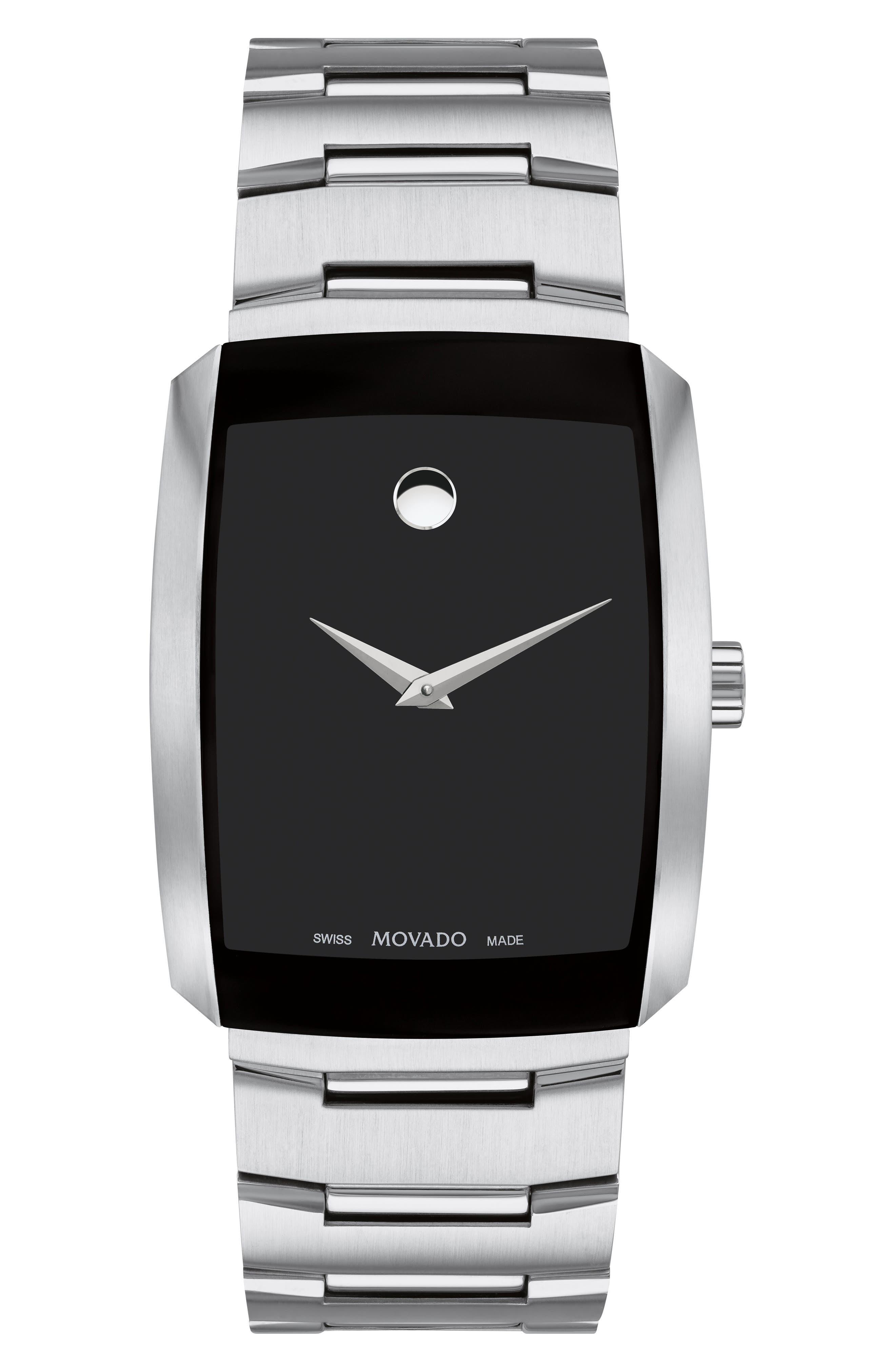 MOVADO Men'S Eliro Square Modern Watch, Silver in Silver/ Black/ Silver