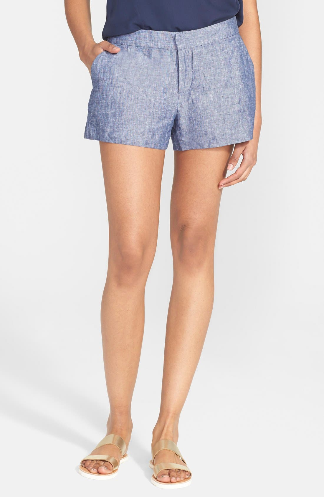 'Merci' Linen Shorts,                             Main thumbnail 1, color,                             418