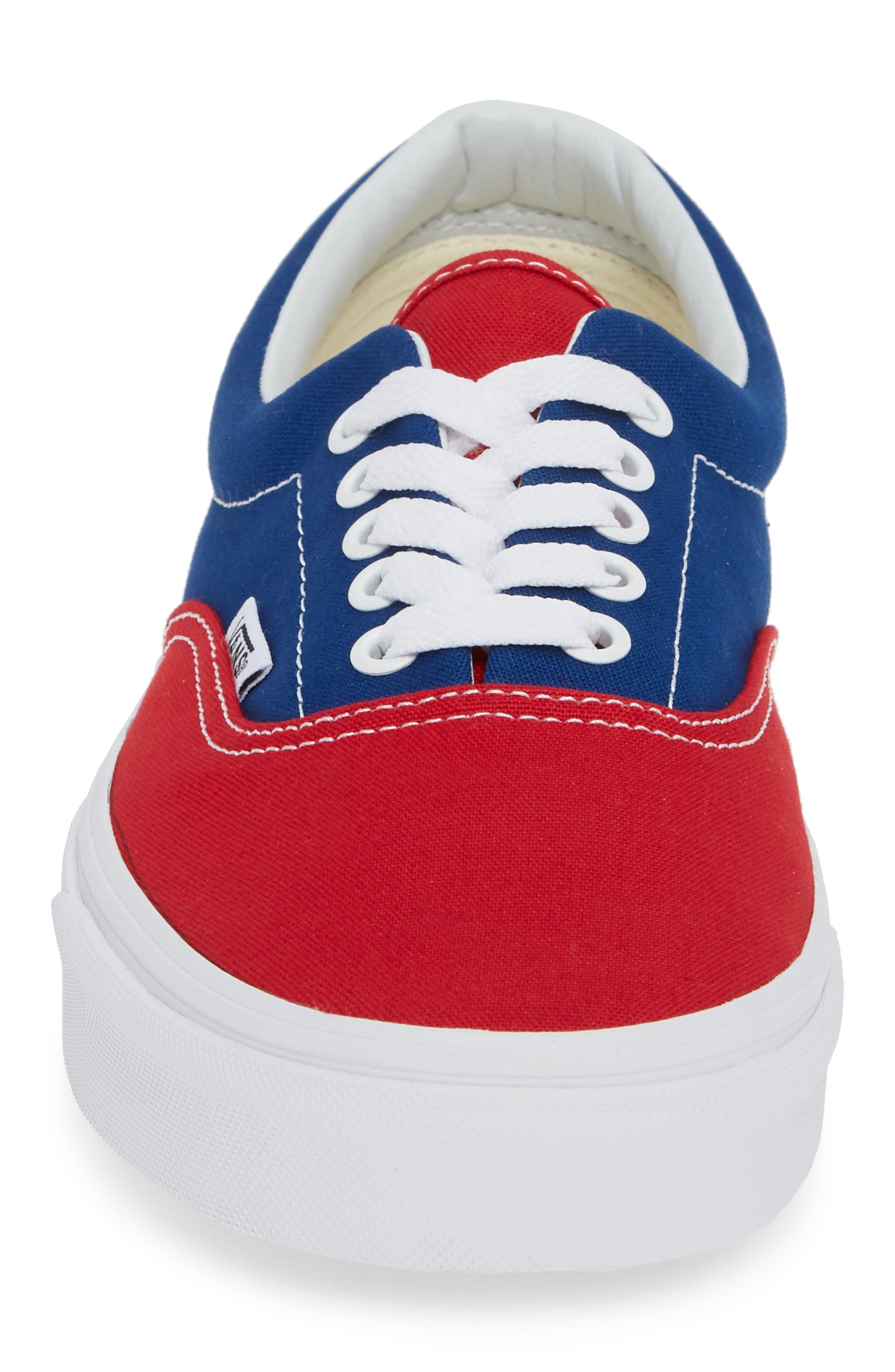 BMX Checkerboard Era Sneaker,                             Alternate thumbnail 4, color,                             BLUE/ RED CHECKER CANVAS