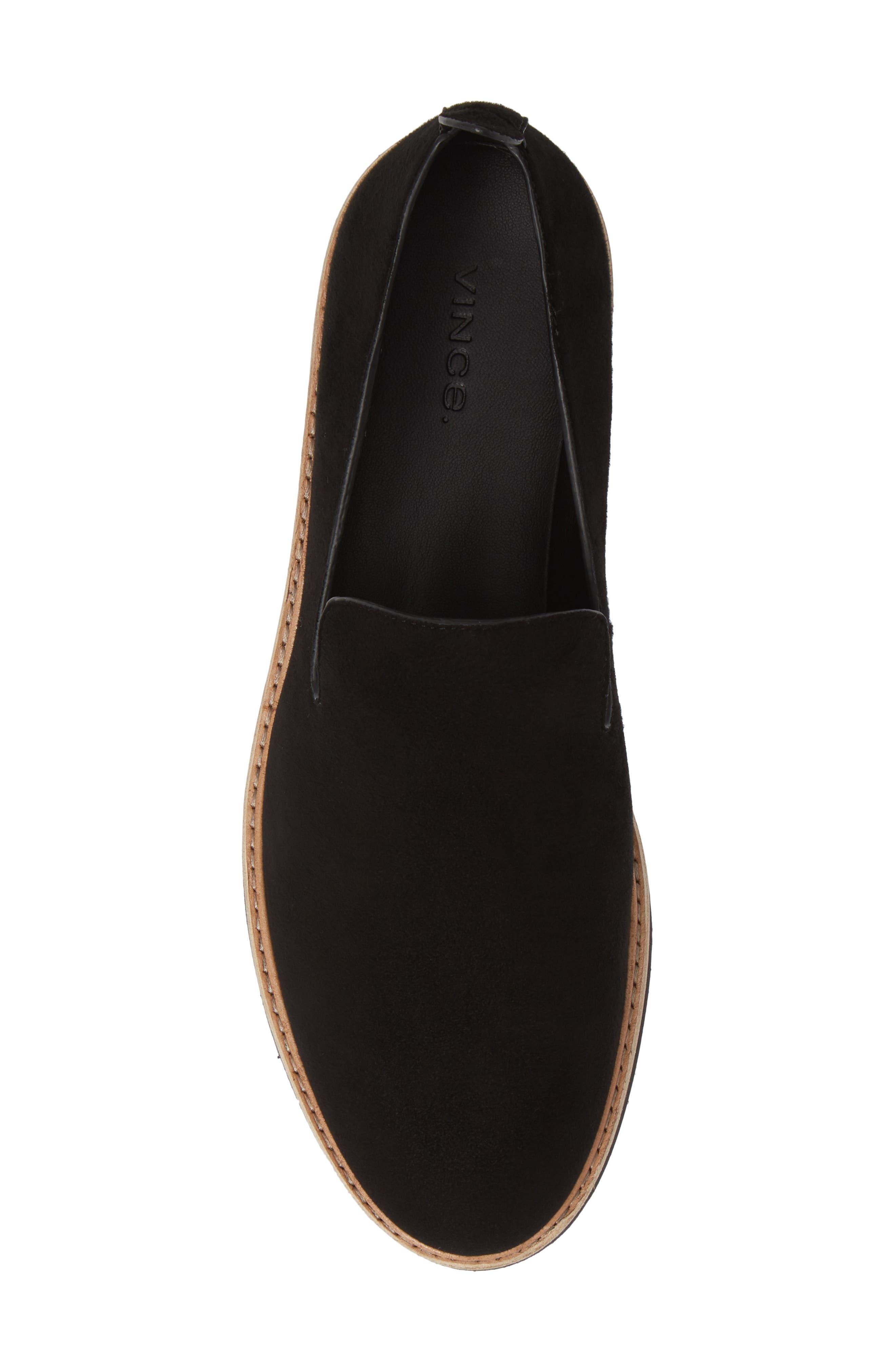 Sanders Slip-On Sneaker,                             Alternate thumbnail 5, color,                             BLACK/ BLACK LEATHER