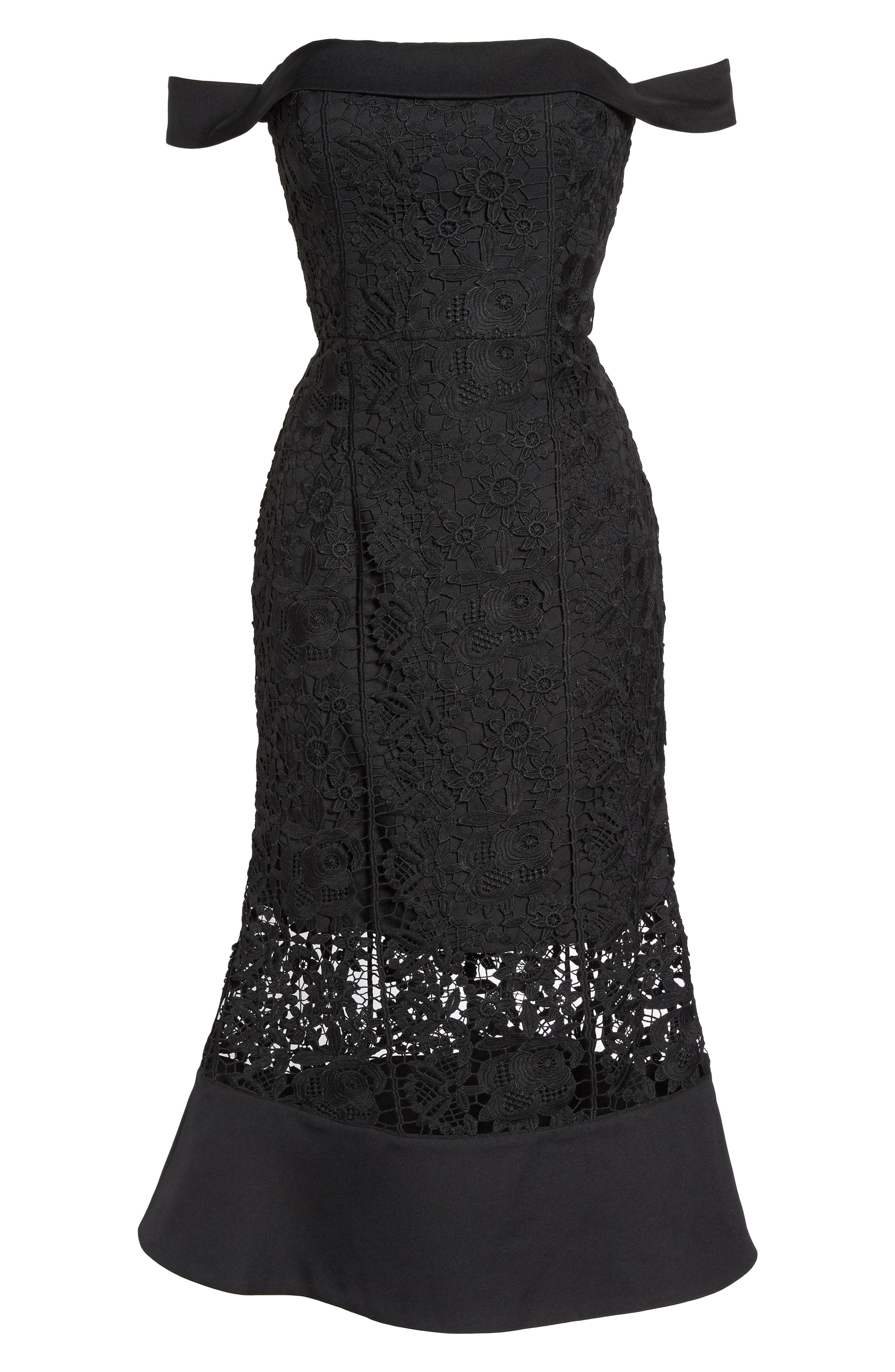 Talia Lace Off the Shoulder Midi Dress,                             Alternate thumbnail 6, color,                             001