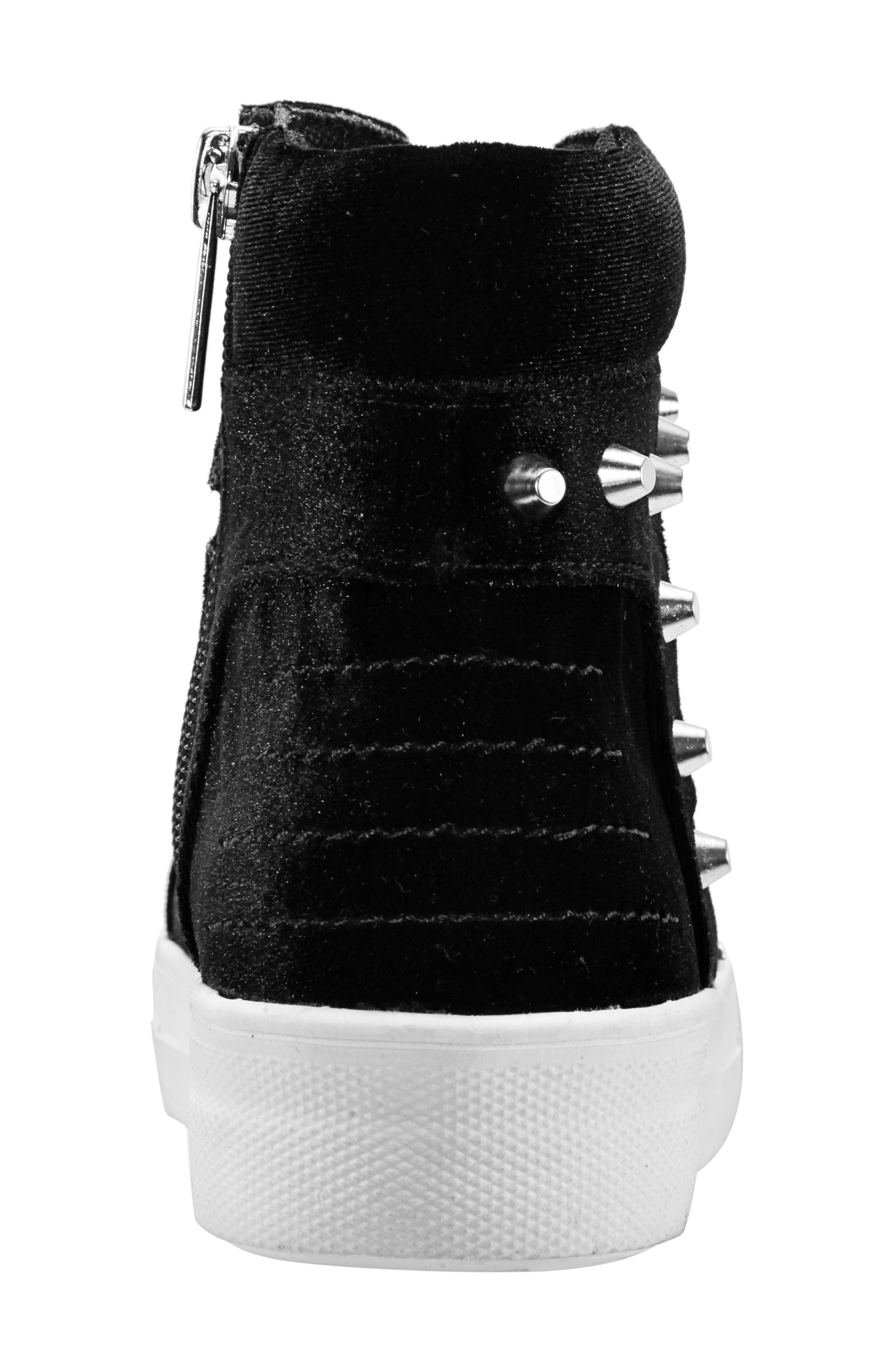 Ima Studded High Top Sneaker,                             Alternate thumbnail 7, color,                             BLACK VELVET