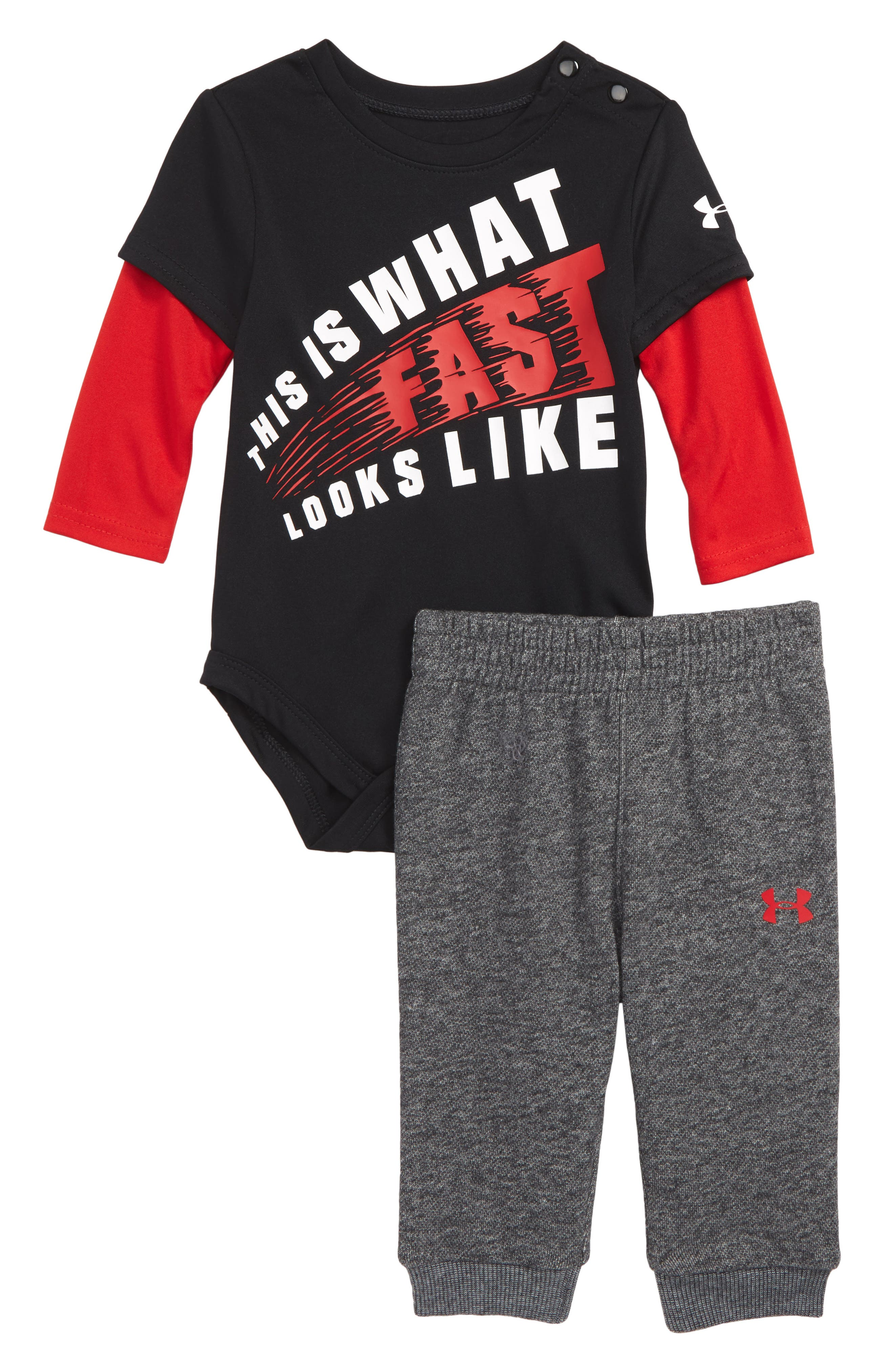 Infant Boys Under Armour Graphic Bodysuit  Jogger Pants Set