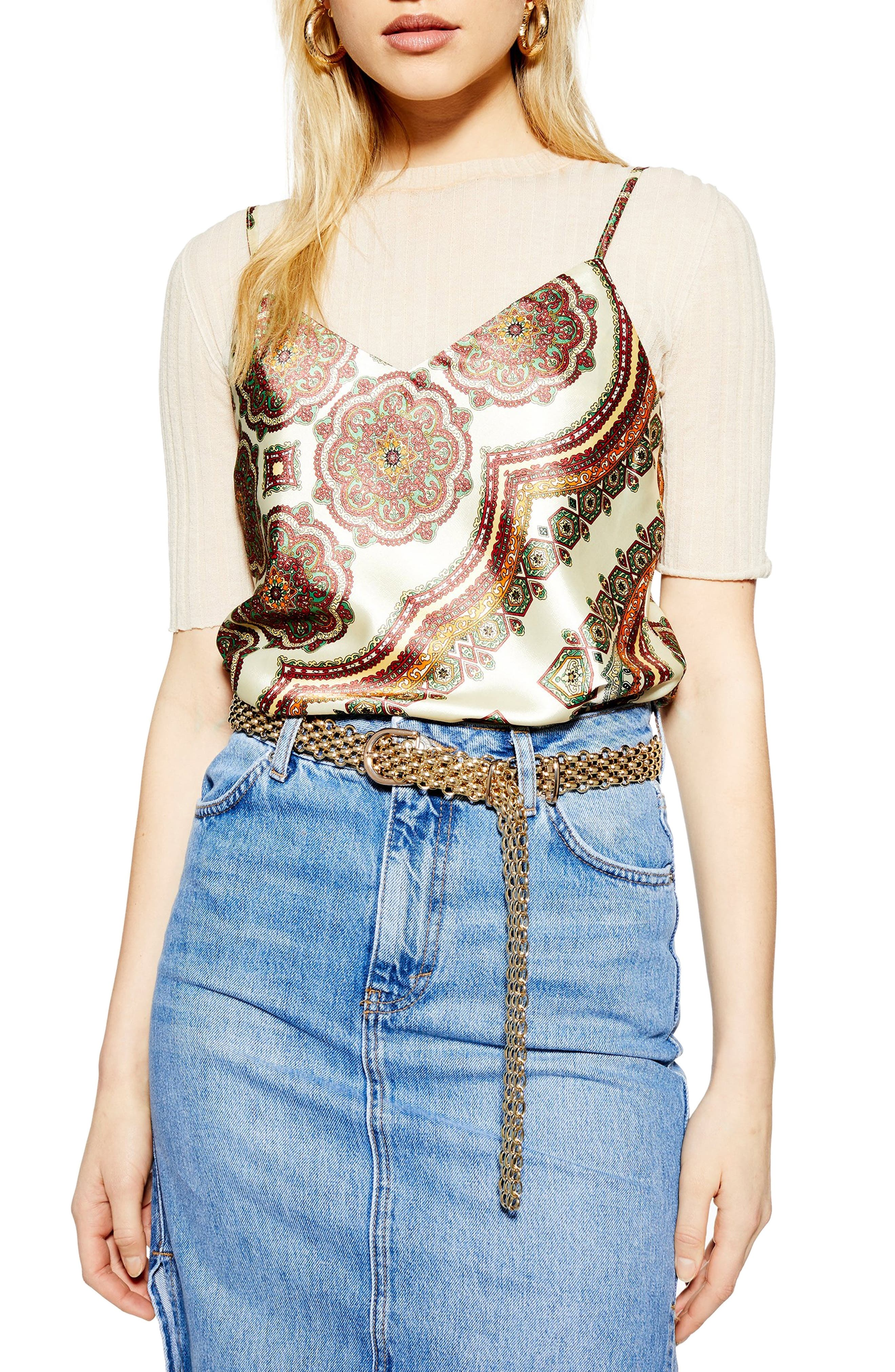Topshop Paisley Print Camisole, US (fits like 14) - Brown