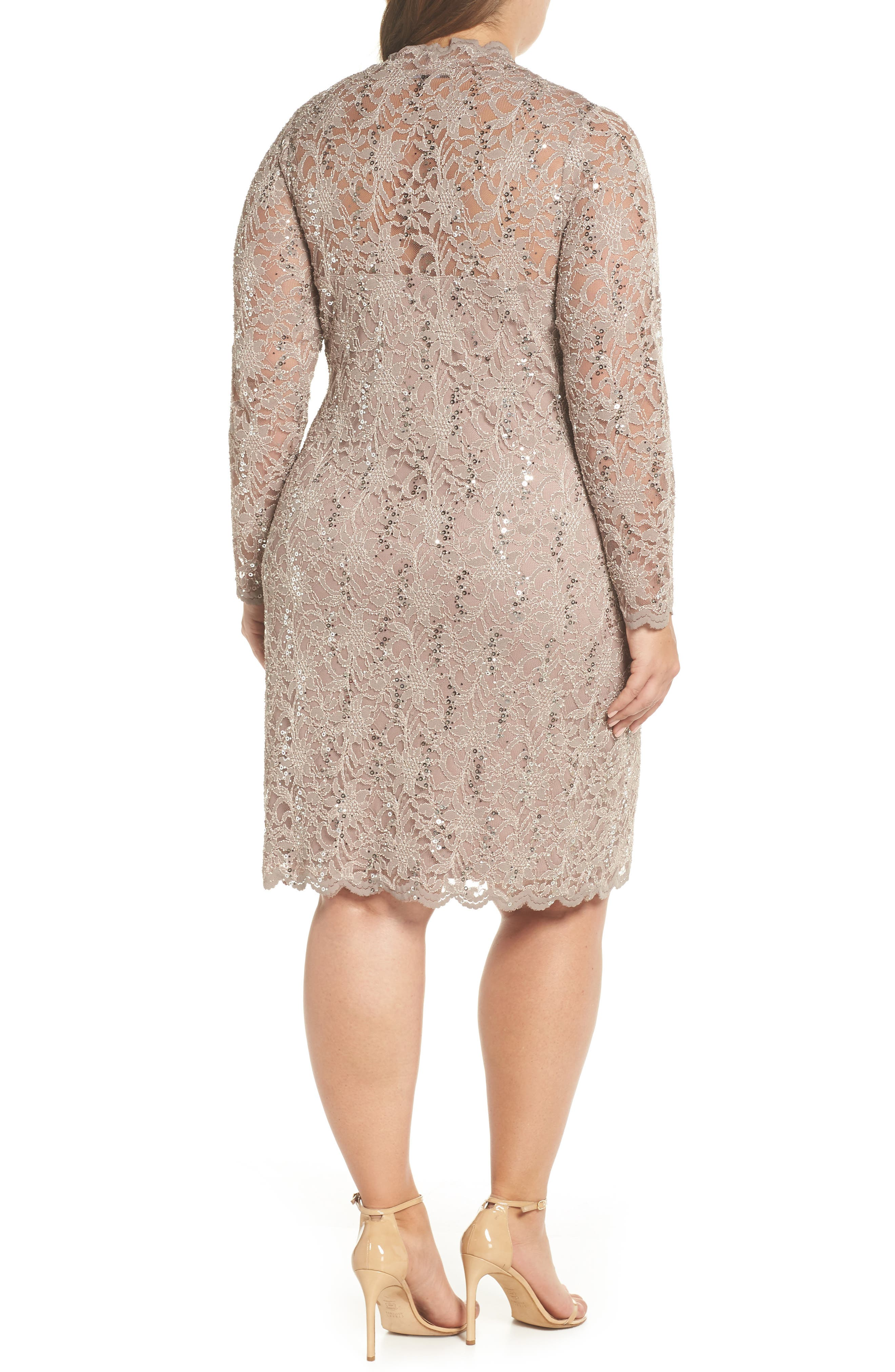 Sequin Stretch Lace Sheath Dress,                             Alternate thumbnail 2, color,                             TAUPE
