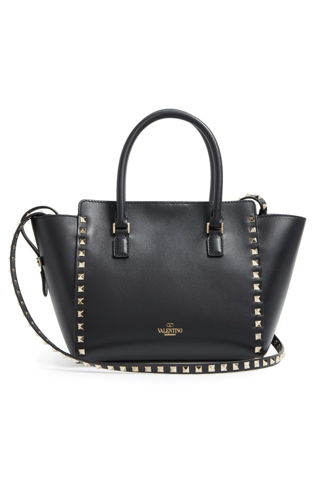 Rockstud Small Double Handle Leather Tote,                             Alternate thumbnail 10, color,                             001