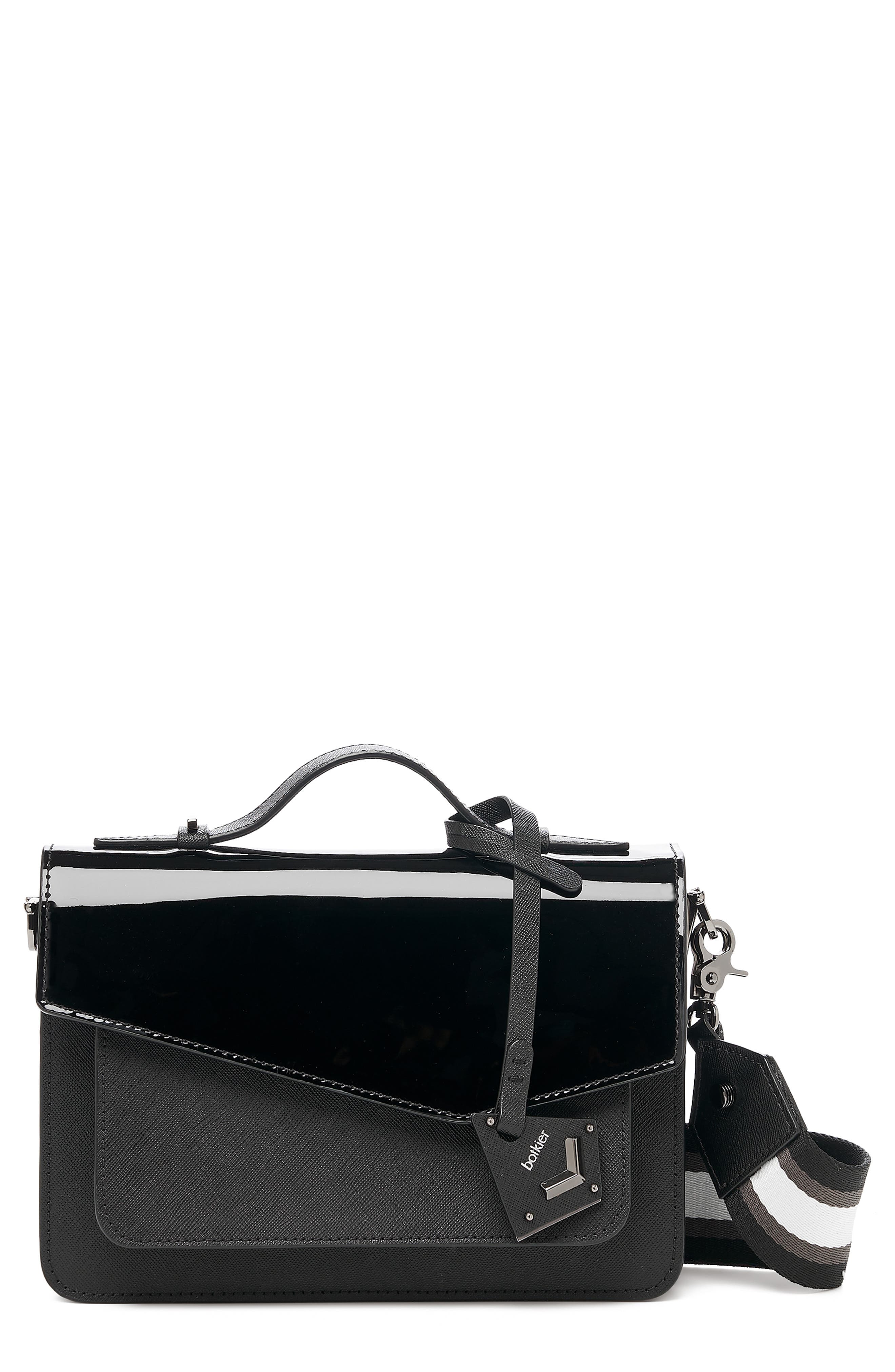 Cobble Hill Leather Crossbody Bag - Black in Black Patent
