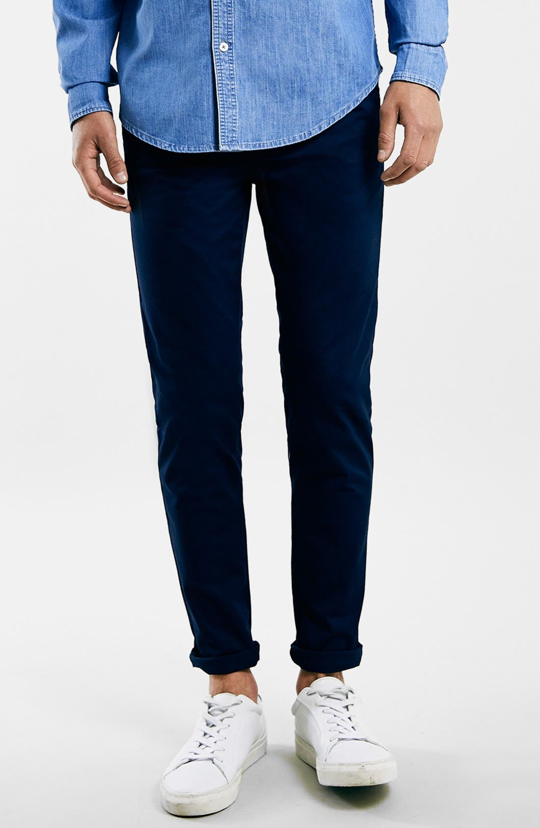 Stretch Skinny Fit Chinos,                             Main thumbnail 1, color,                             DARK BLUE