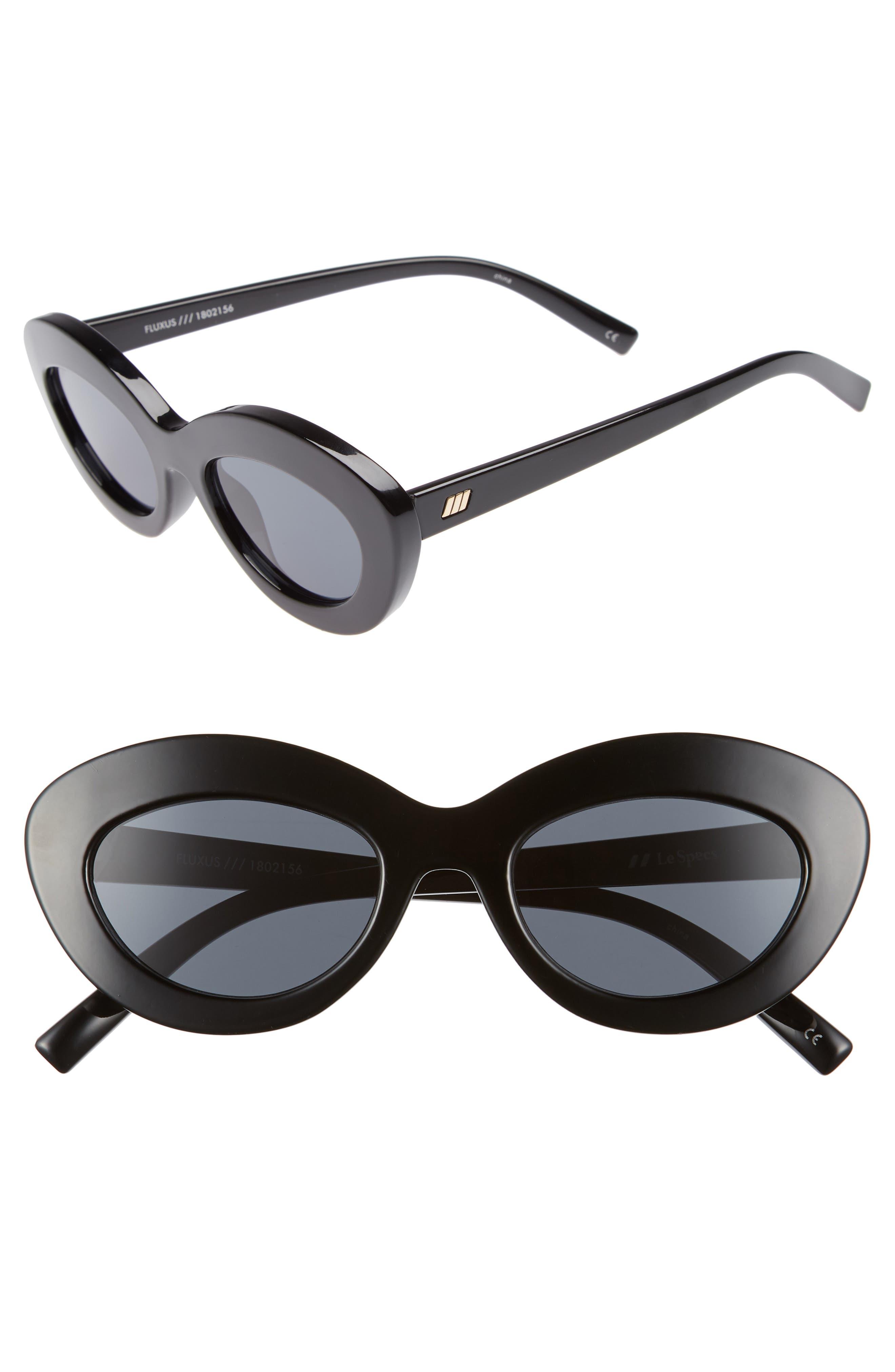 Fluxus 48mm Cat Eye Sunglasses,                             Main thumbnail 1, color,                             BLACK