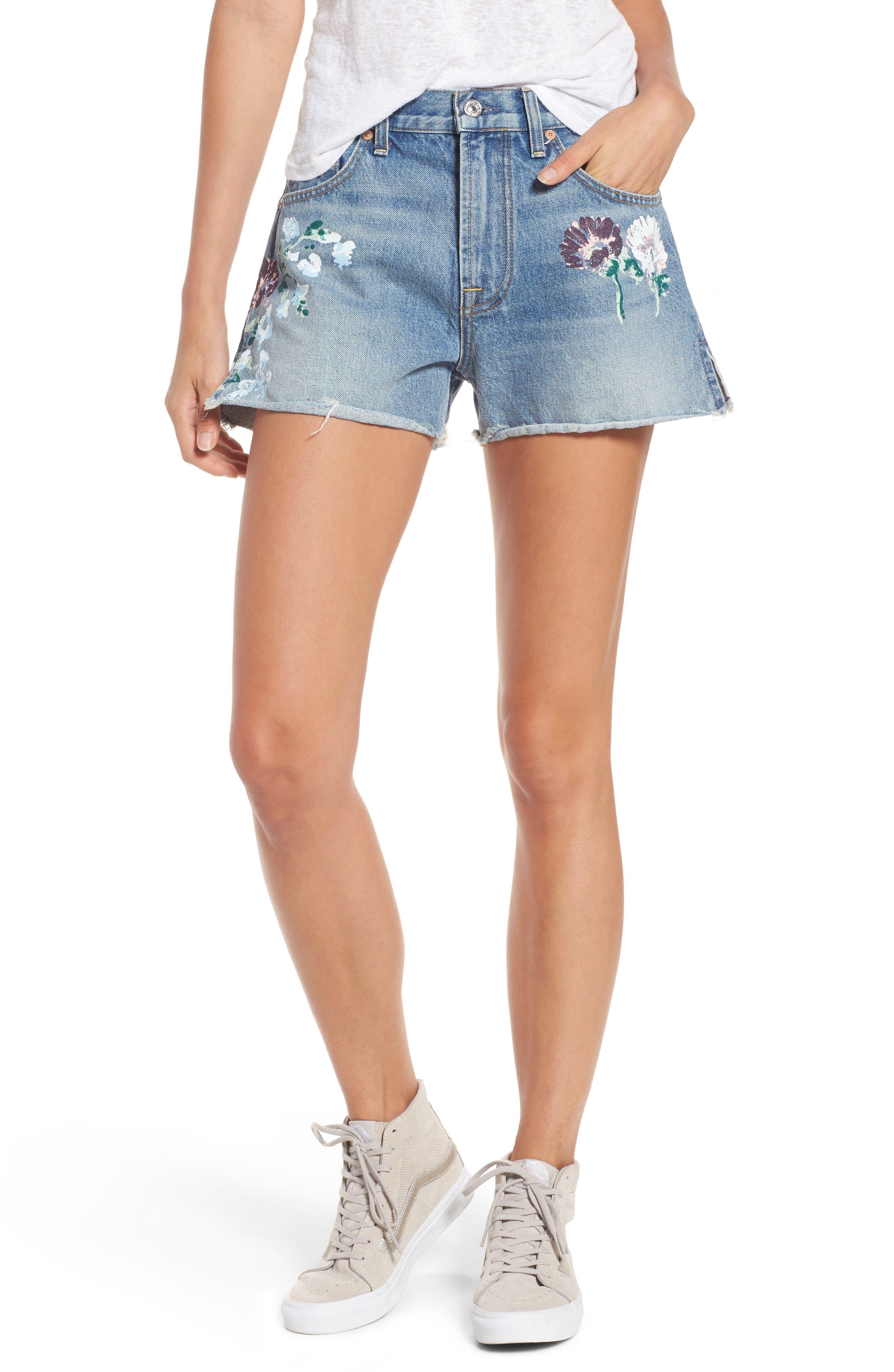 Handpainted Cutoff Denim Shorts,                         Main,                         color, VINTAGE WYTHE PAINTED FLORAL