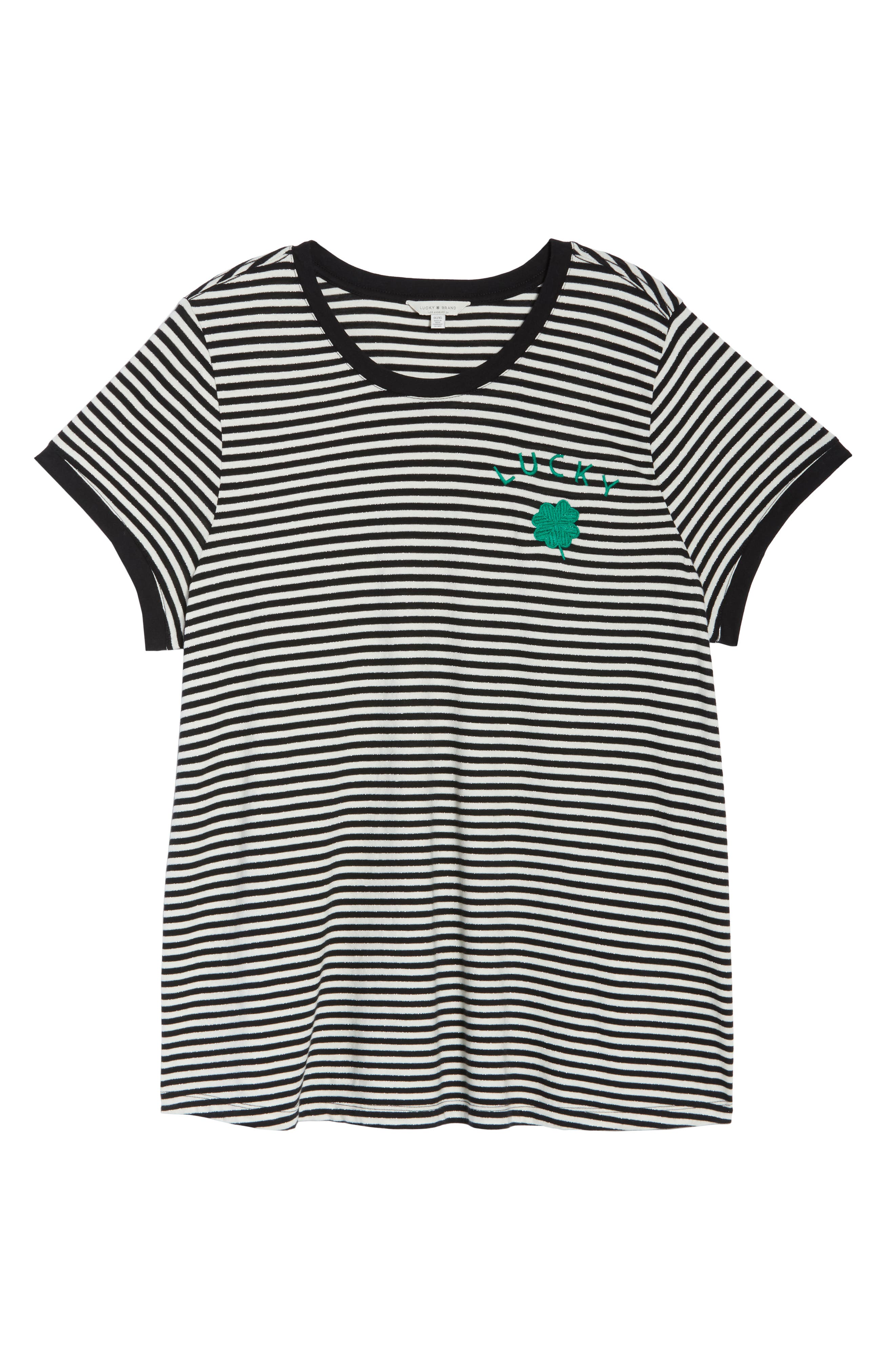 Embroidered Clover Stripe Tee,                             Alternate thumbnail 6, color,                             BLACK STRIPE
