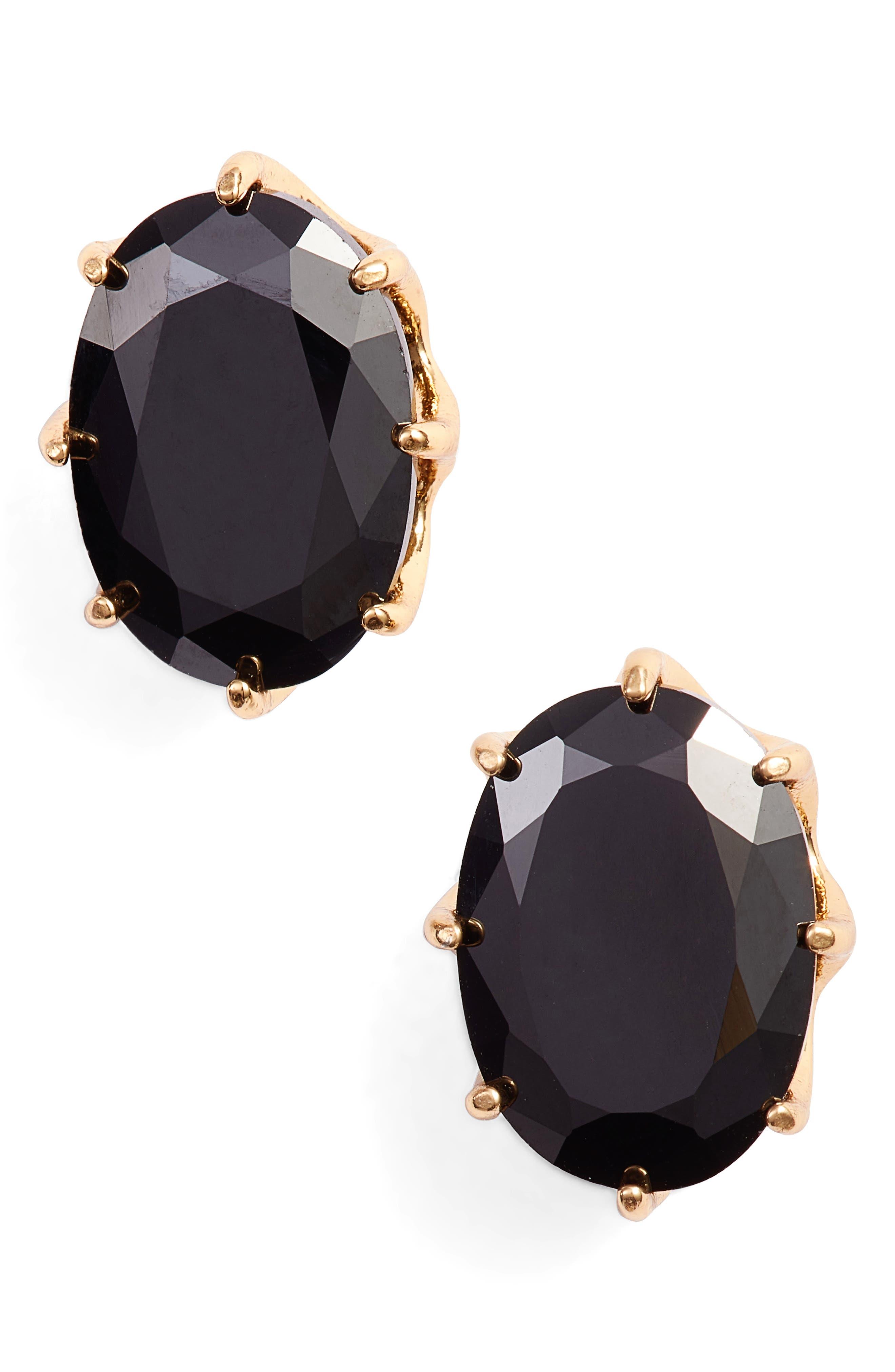 shine on oval stud earrings,                         Main,                         color, JET