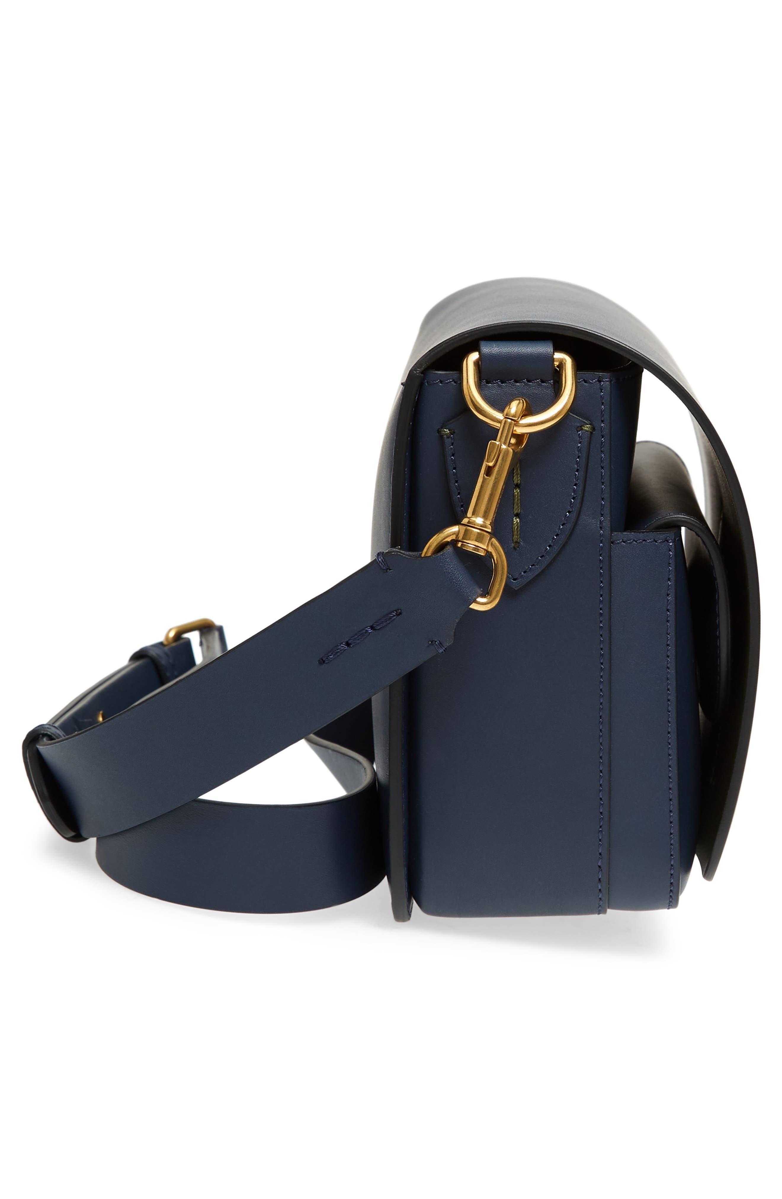 Large Square Leather Shoulder Bag,                             Alternate thumbnail 5, color,                             MID INDIGO