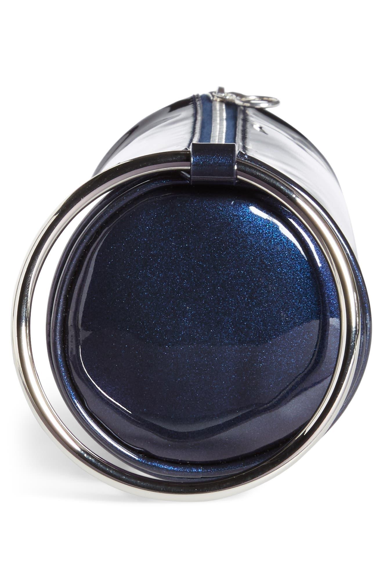 Iridescent Leather Duffel Wristlet Clutch,                             Alternate thumbnail 5, color,