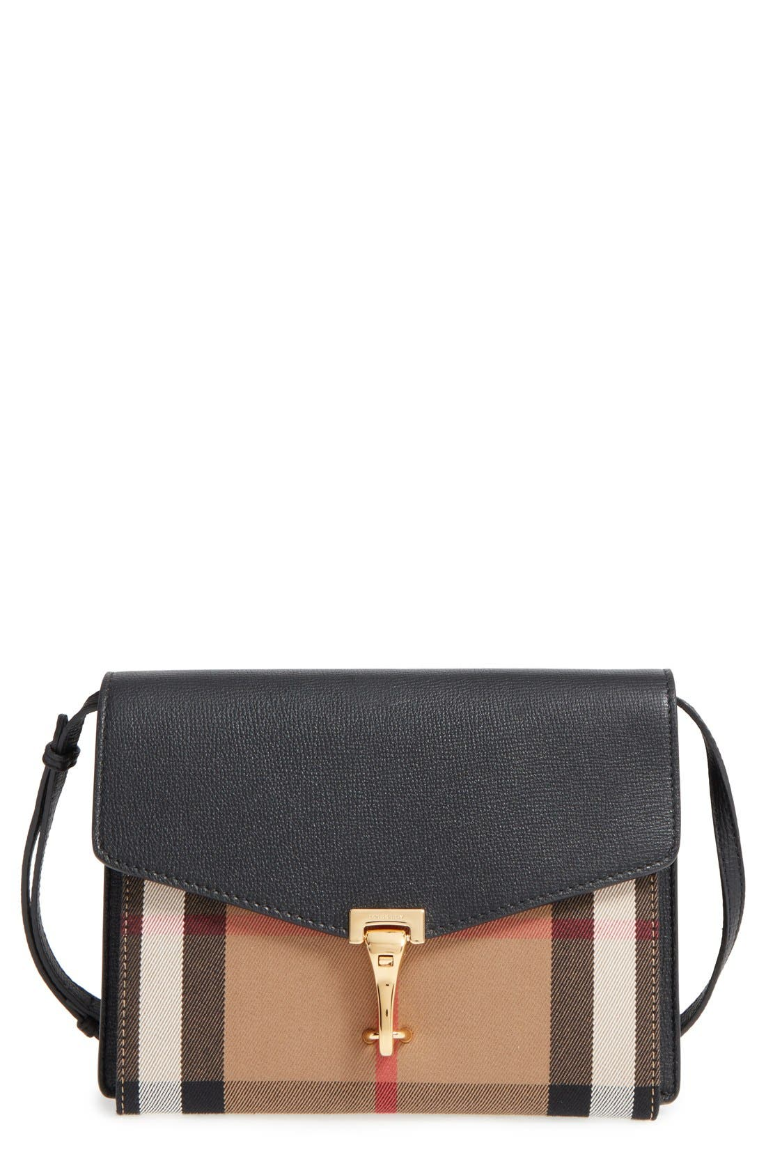 'Small Macken' House Check Crossbody Bag,                             Main thumbnail 1, color,                             BLACK