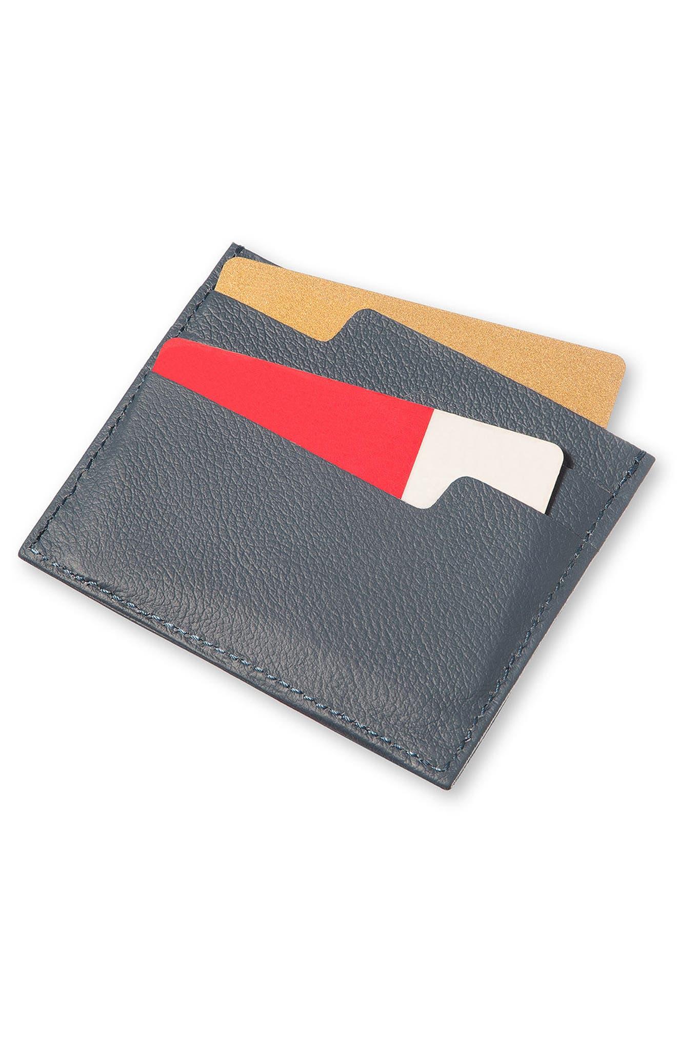 Moleskin Lineage Leather Card Case,                             Alternate thumbnail 4, color,                             AVIO BLUE