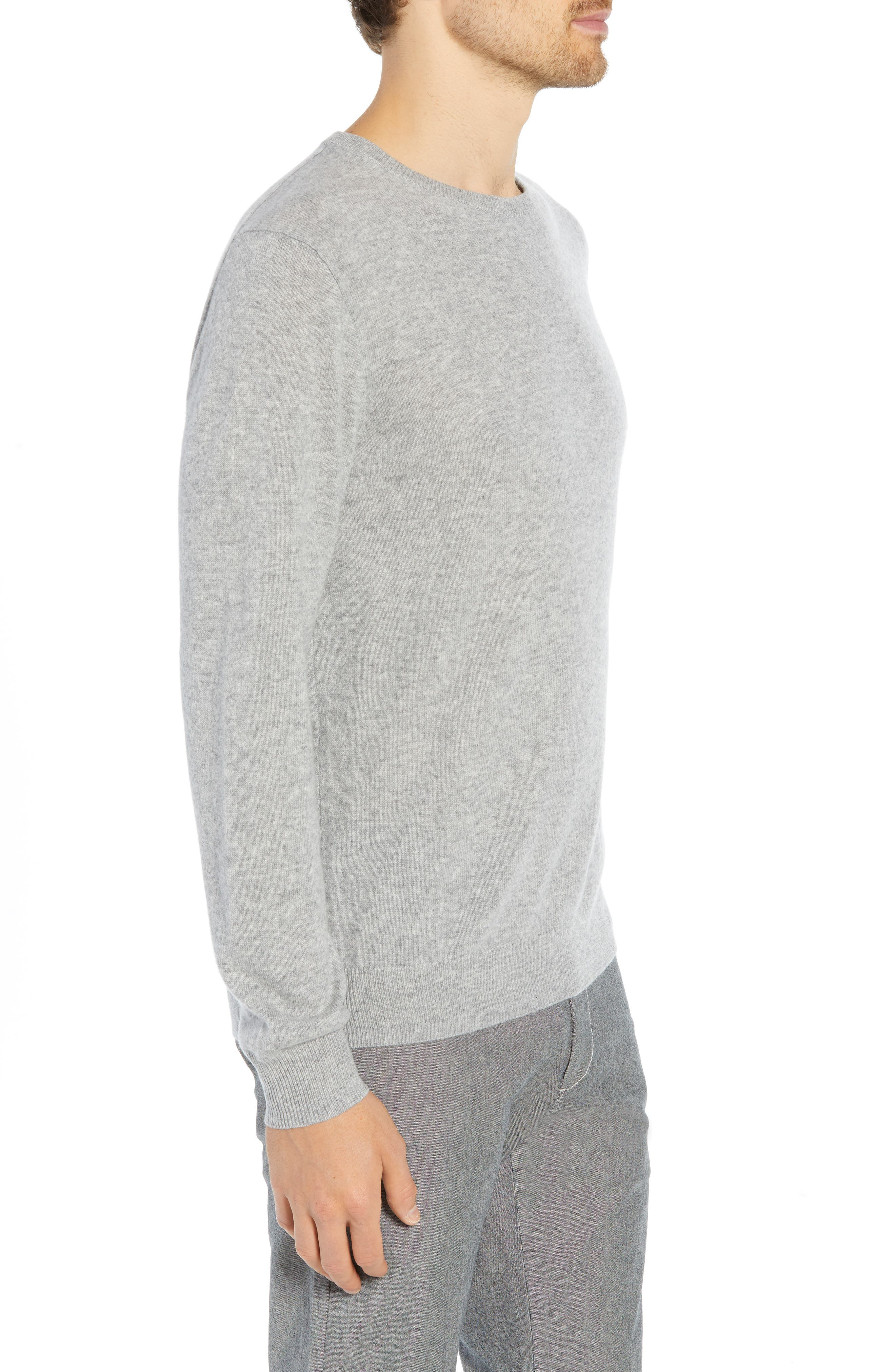 Everyday Cashmere Regular Fit Crewneck Sweater,                             Alternate thumbnail 3, color,                             HEATHER GREY